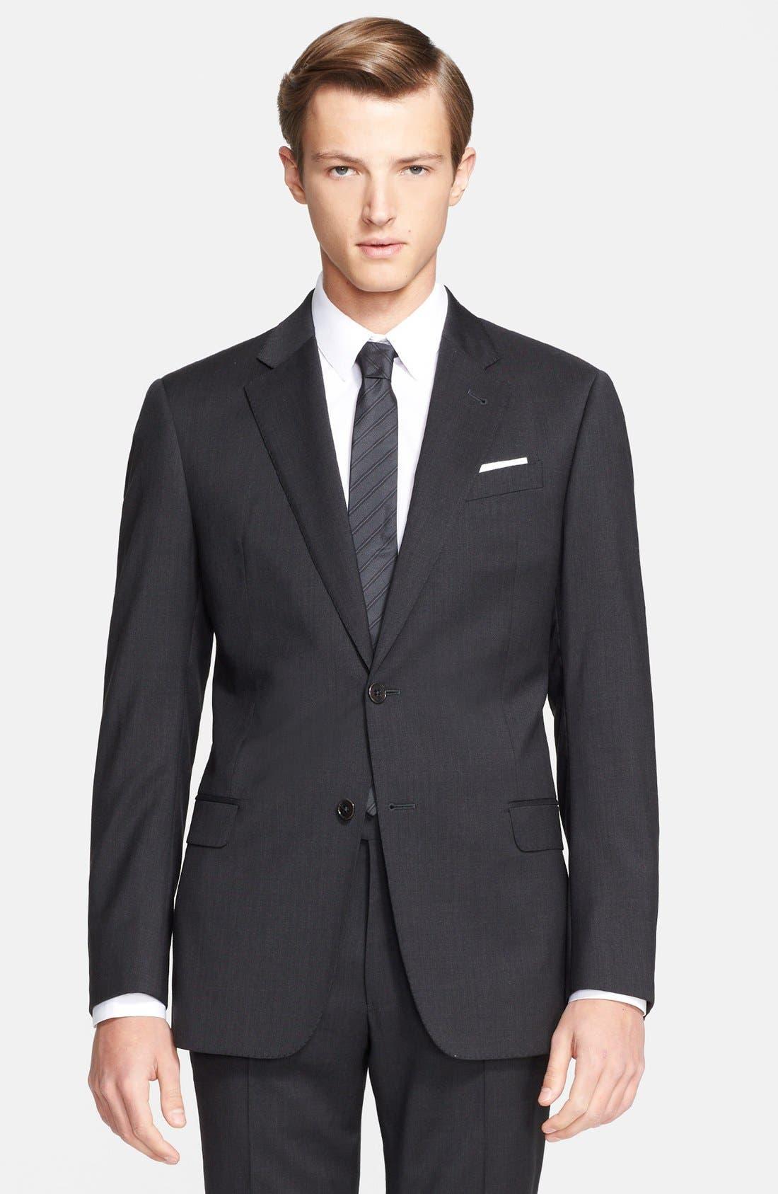 'G-Line' Trim Fit Solid Wool Suit,                             Alternate thumbnail 7, color,                             020