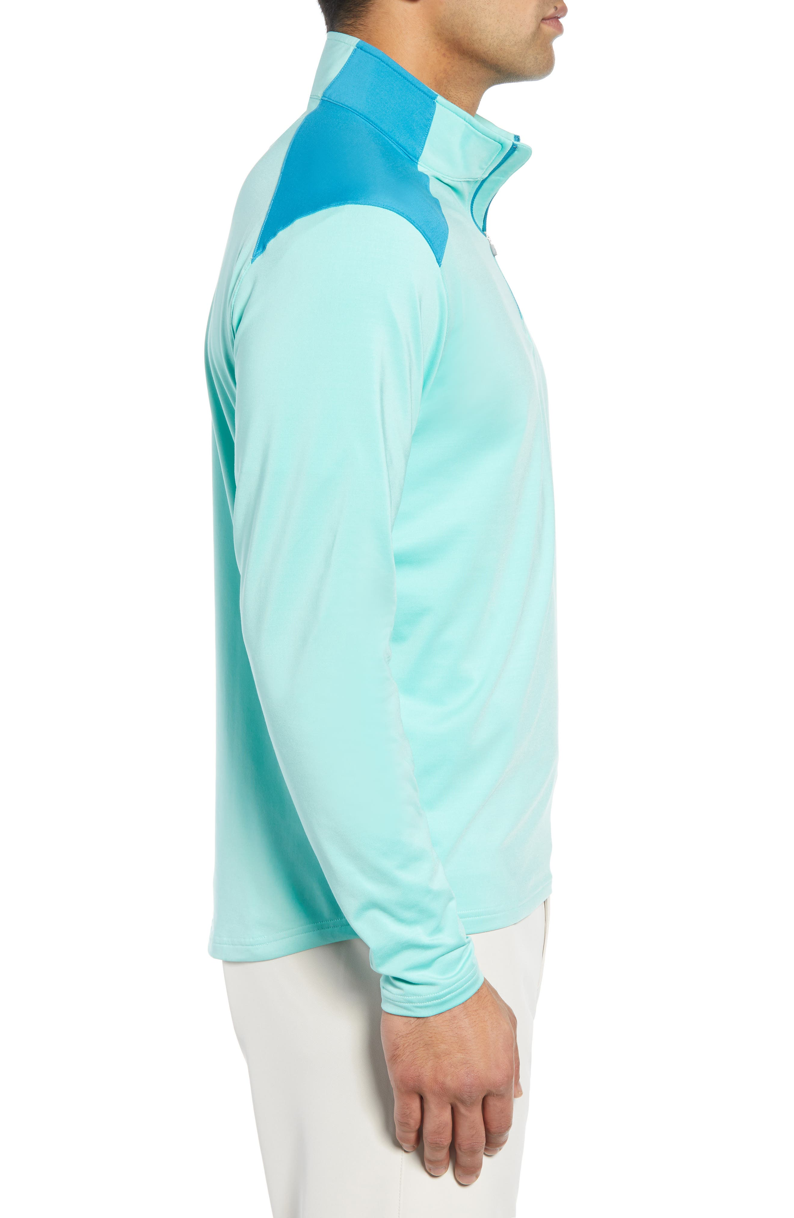 Quarter Zip Performance Pullover,                             Alternate thumbnail 3, color,                             TEAL