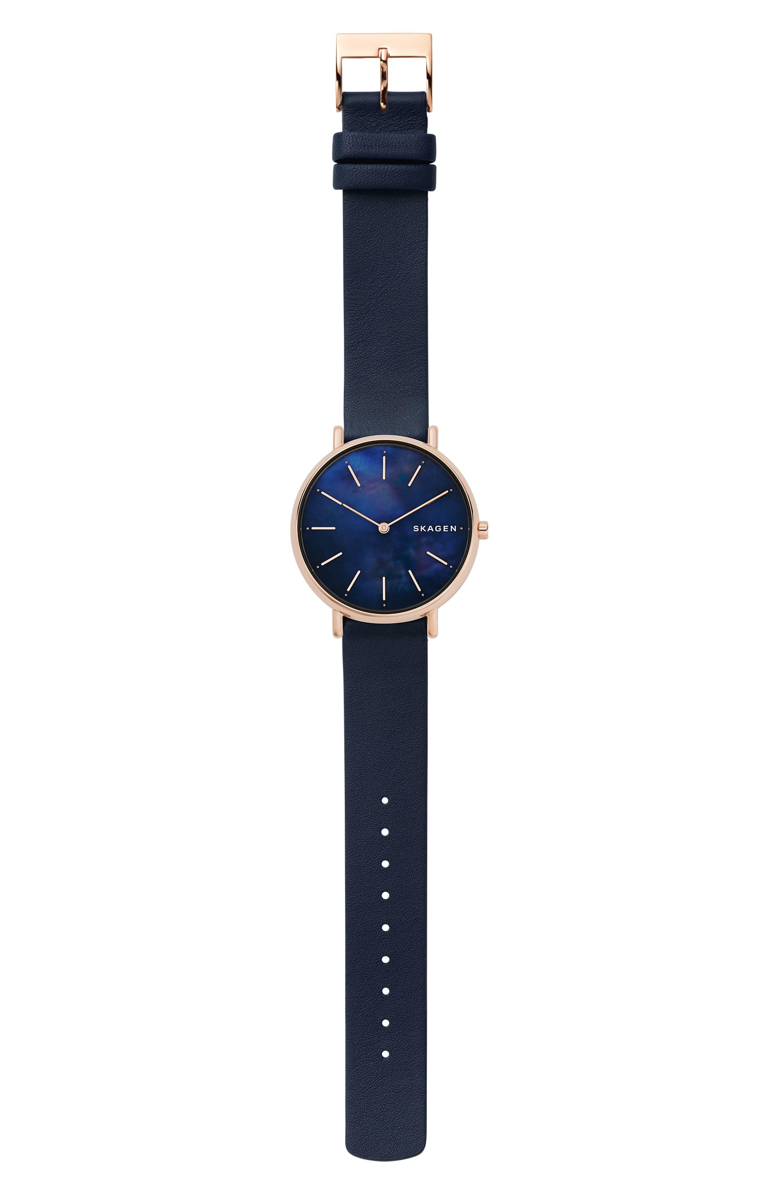 Signatur Leather Strap Watch, 36mm,                             Alternate thumbnail 3, color,                             BLUE/ MOP/ ROSE GOLD