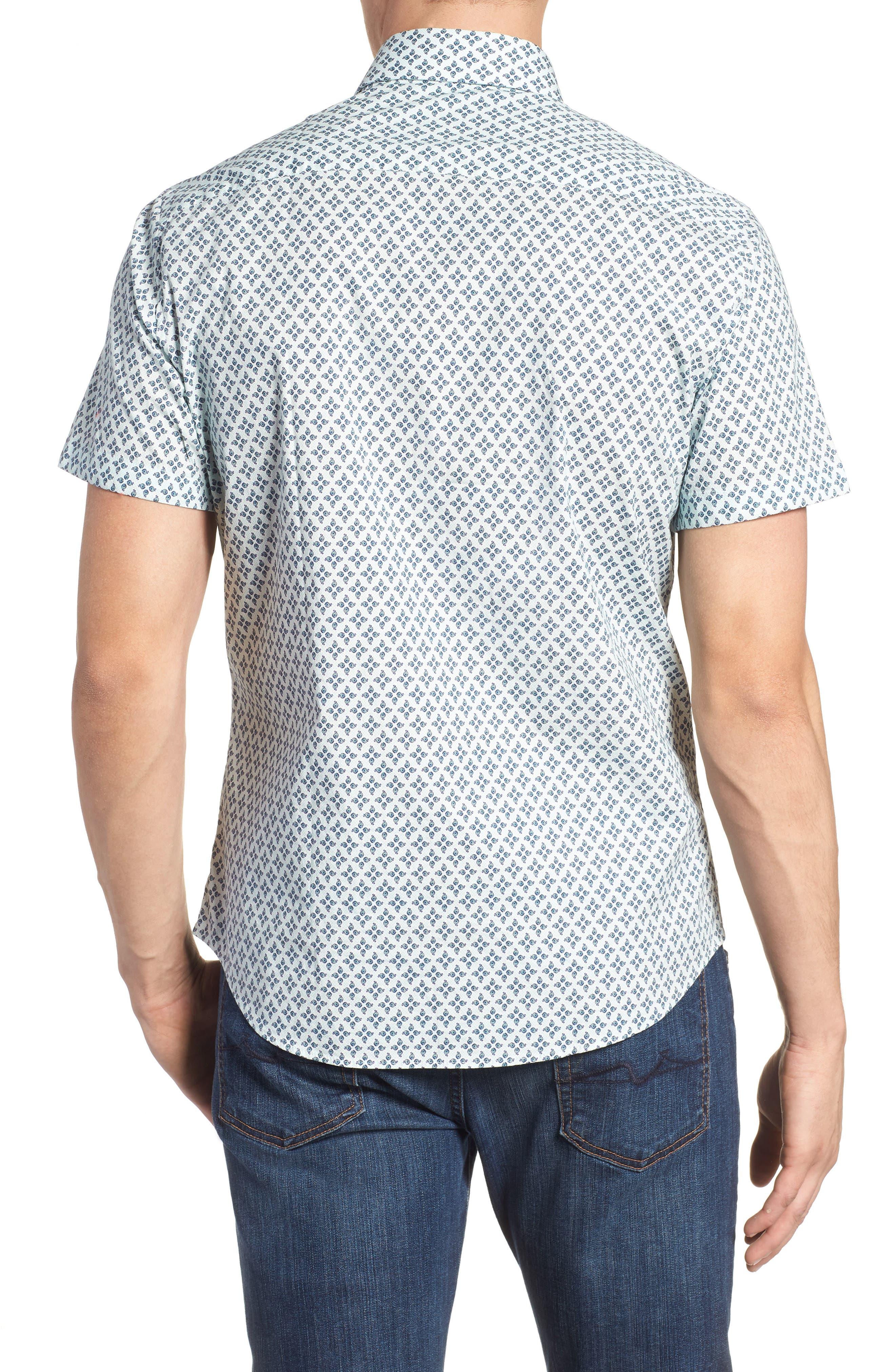 Slim Fit Peacock Feather Print Sport Shirt,                             Alternate thumbnail 2, color,                             650