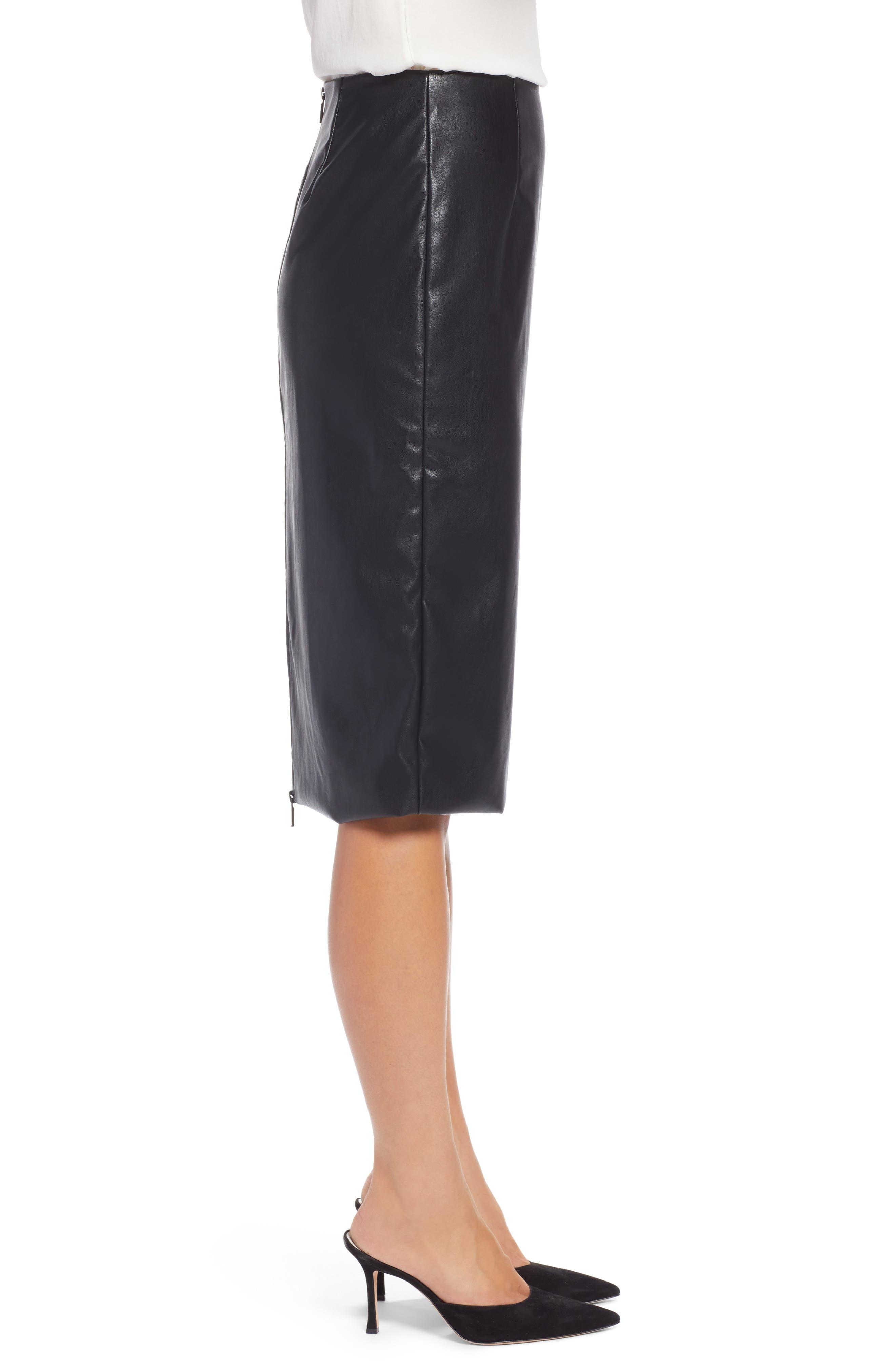 Faux Leather Pencil Skirt,                             Alternate thumbnail 3, color,                             BLACK