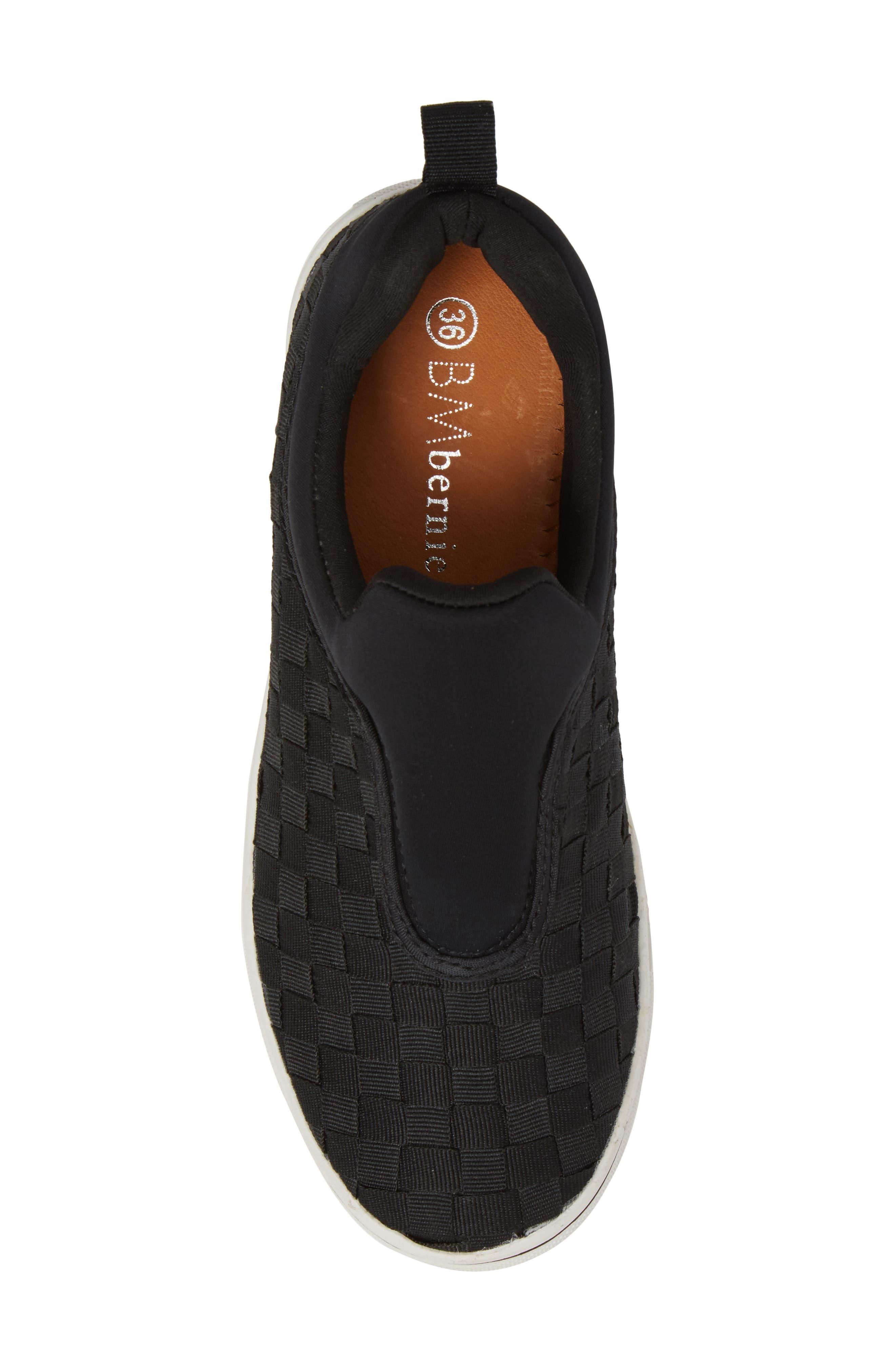 Bernie Mev Joan Slip-On Sneaker,                             Alternate thumbnail 5, color,                             BLACK/ BLACK FABRIC