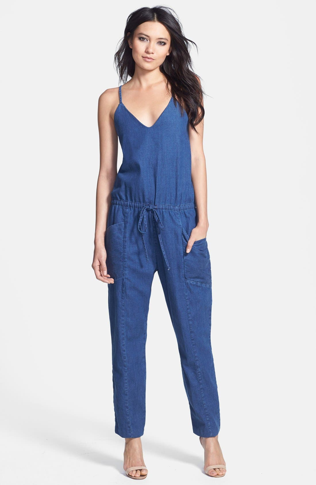 Spaghetti Strap Denim Jumpsuit,                             Main thumbnail 1, color,                             400