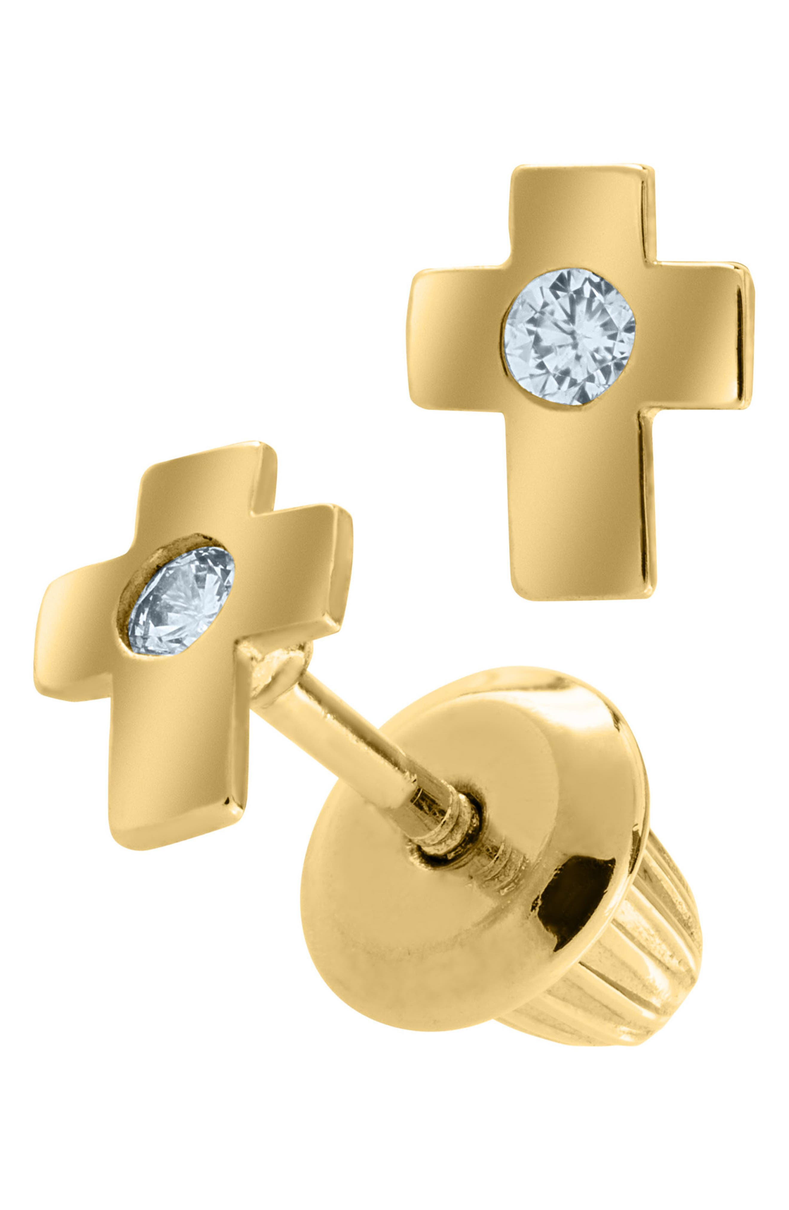 14k Gold & Cubic Zirconia Cross Earrings,                             Alternate thumbnail 2, color,                             GOLD