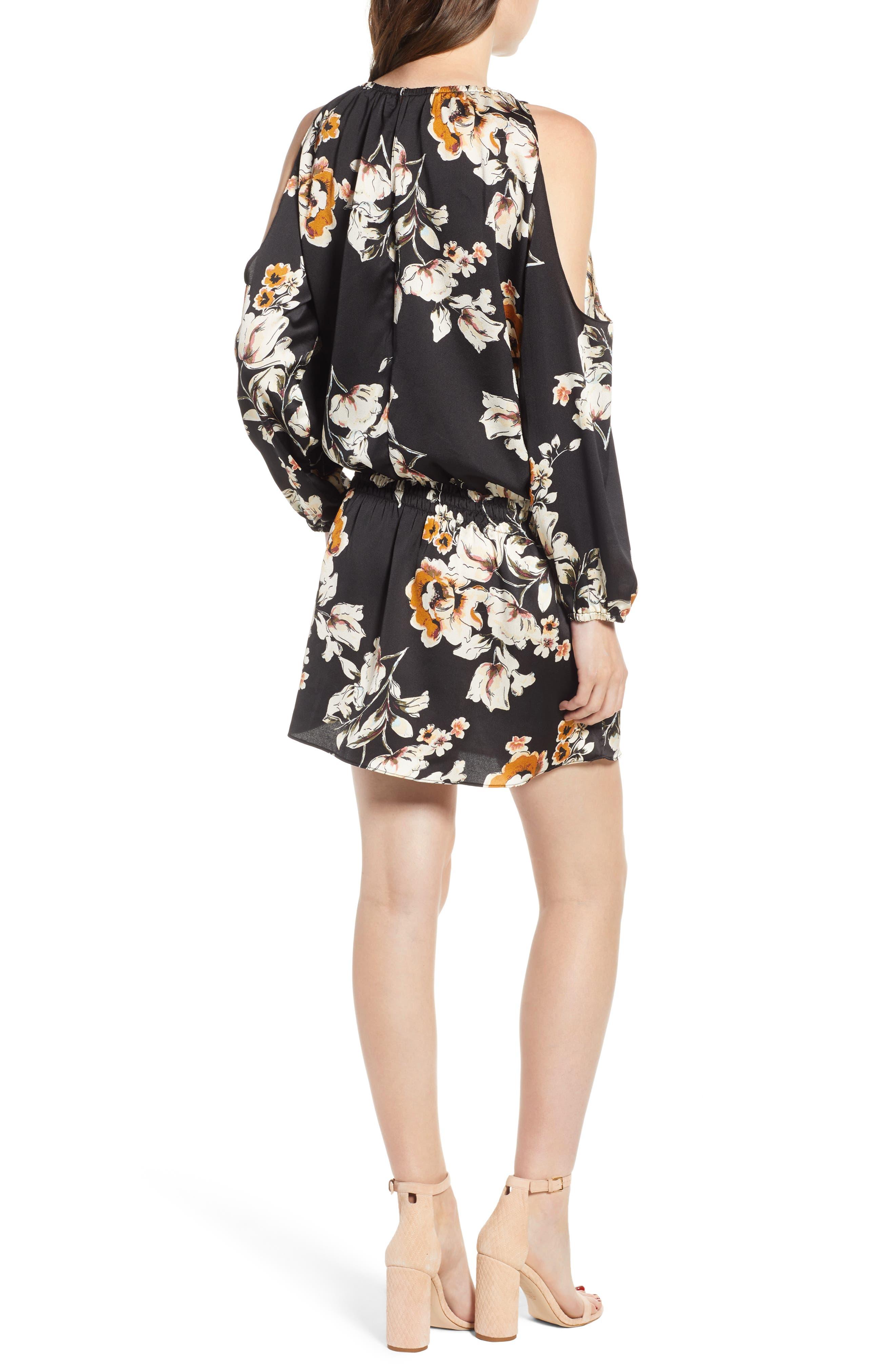 Bishop + Young Cold Shoulder Mini Dress,                             Alternate thumbnail 2, color,                             BLACK