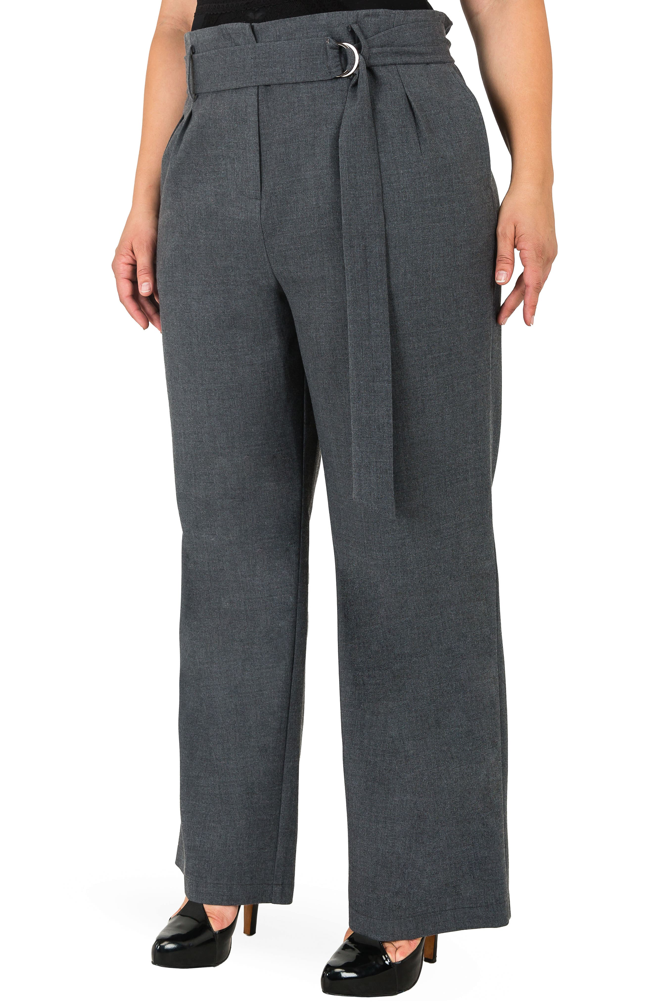 Franchesca High Rise Paperbag Trousers,                             Alternate thumbnail 4, color,                             CHARCOAL