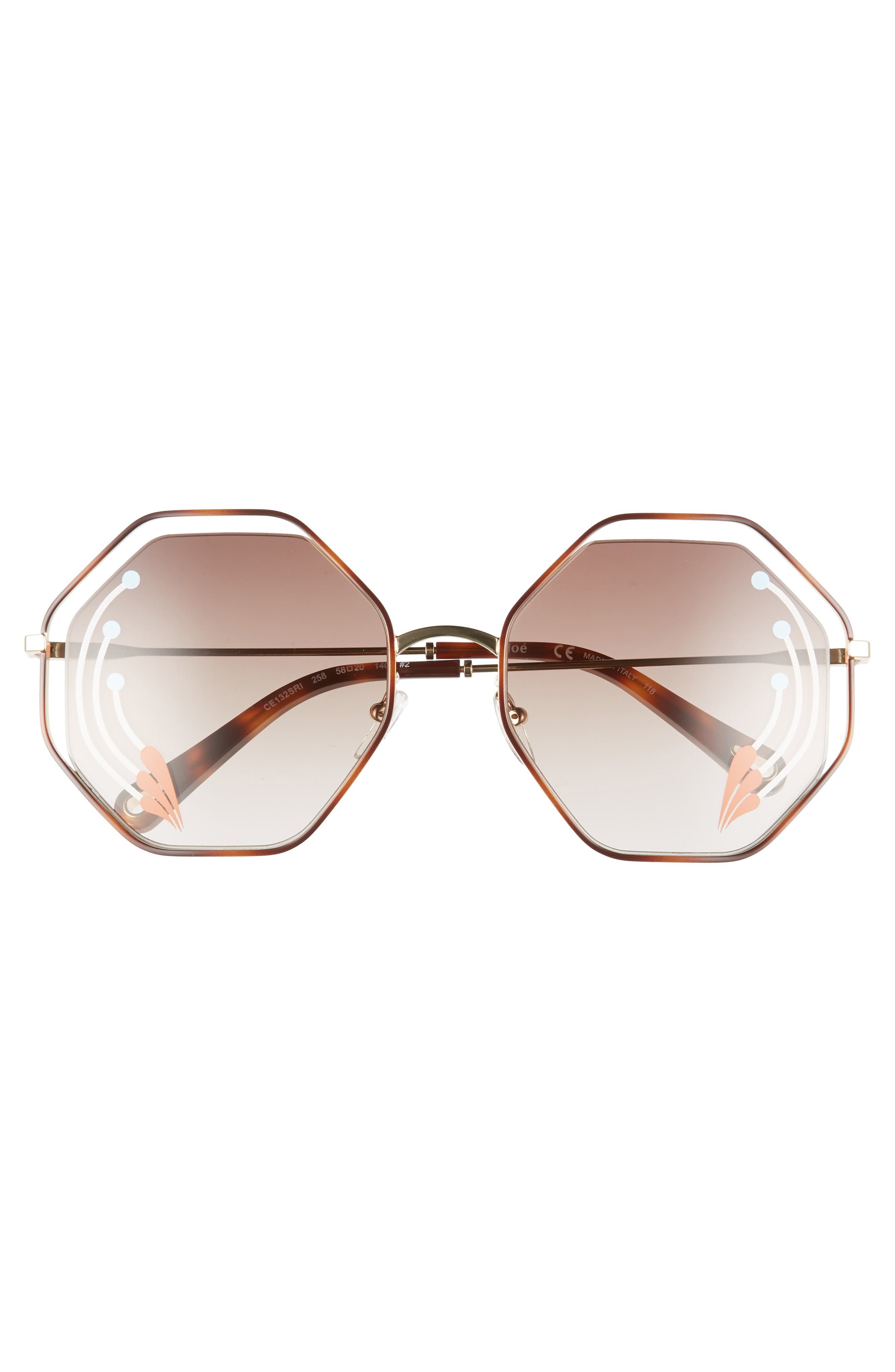Poppy 58mm Octagonal Halo Lens Sunglasses,                             Alternate thumbnail 3, color,                             HAVANA/ GOLD BROWN W PRINT