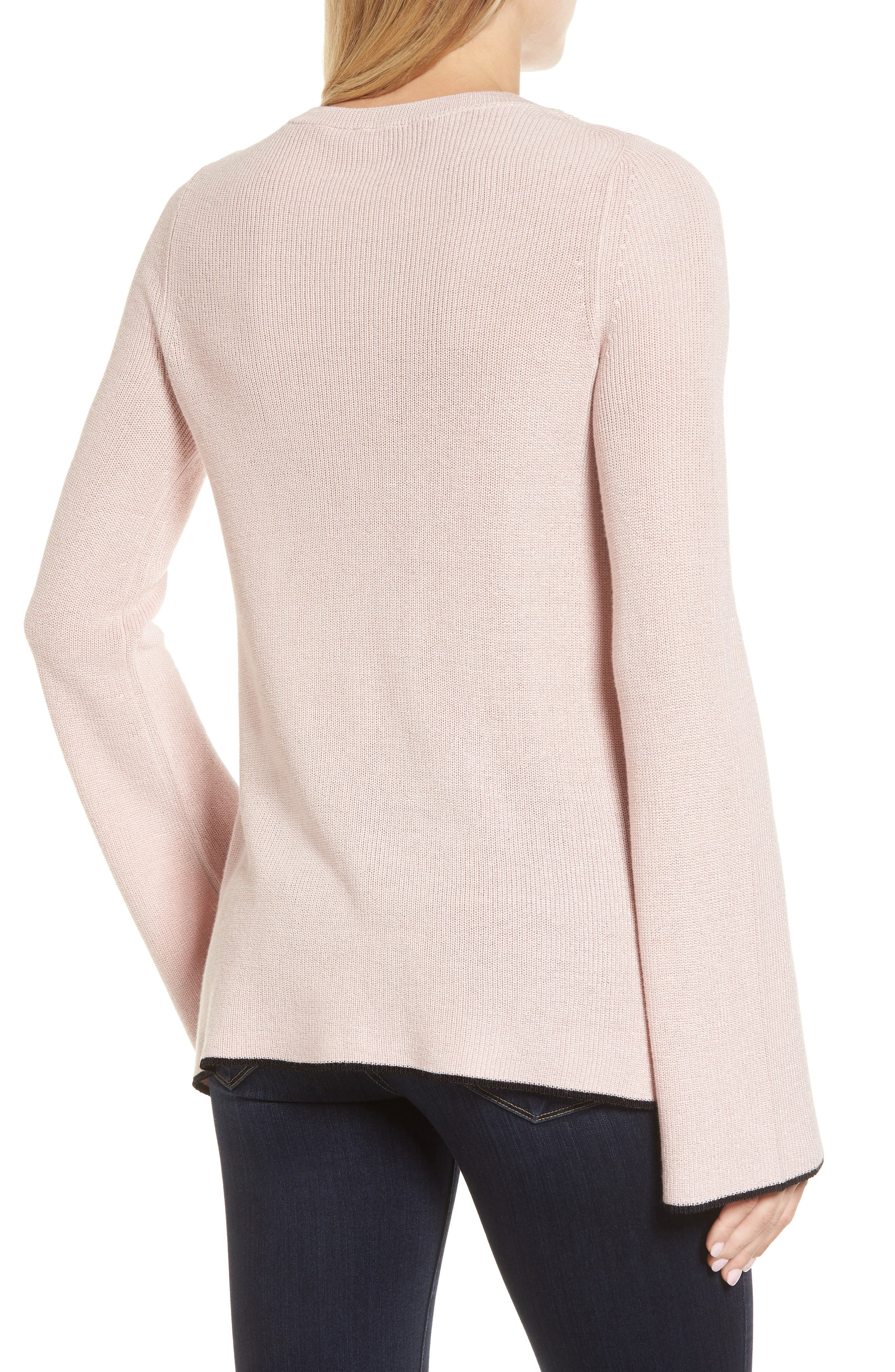 Tipped Bell Sleeve Sweater,                             Alternate thumbnail 14, color,