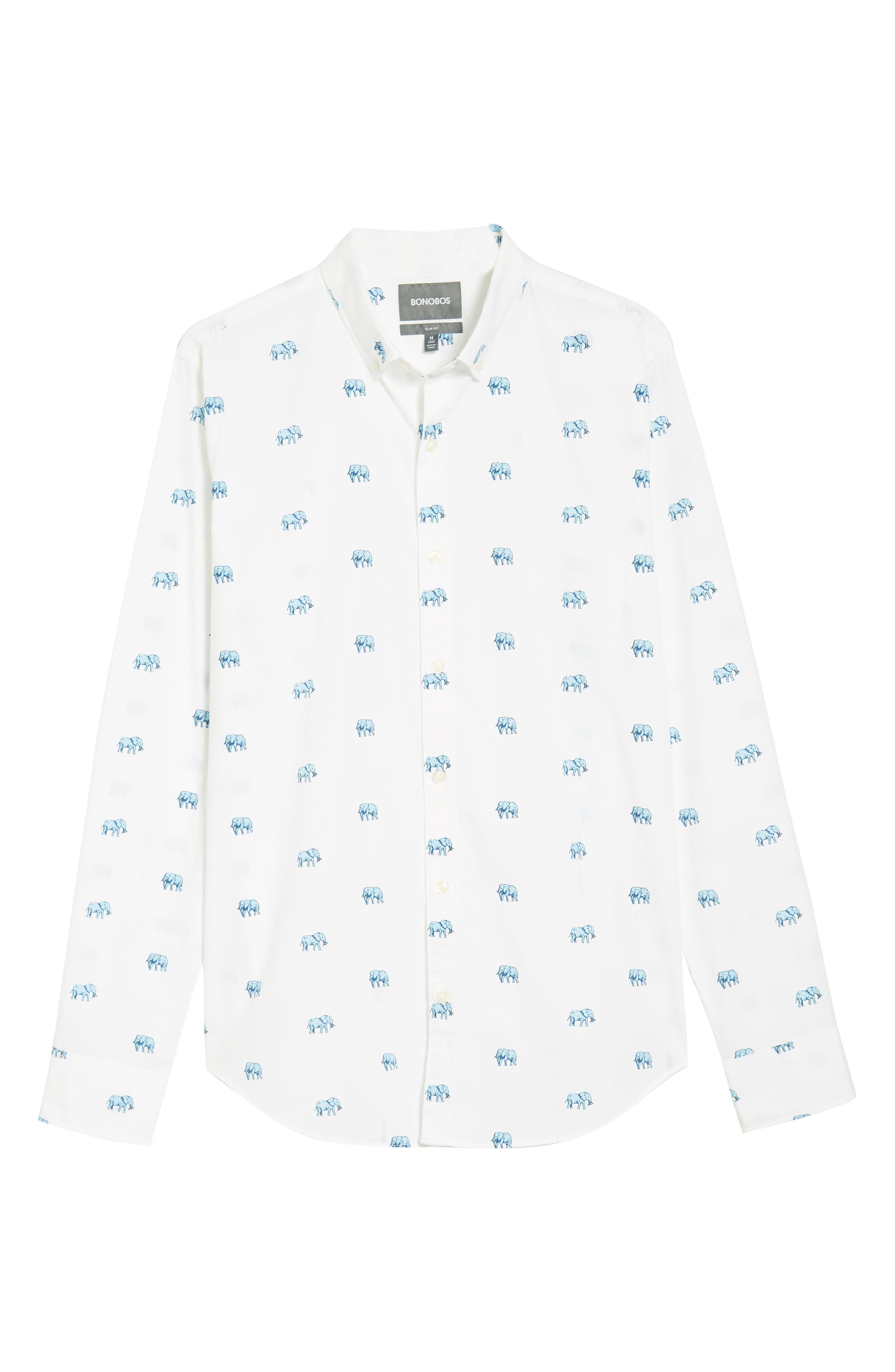 Slim Fit Washed Elephant Sport Shirt,                             Alternate thumbnail 6, color,
