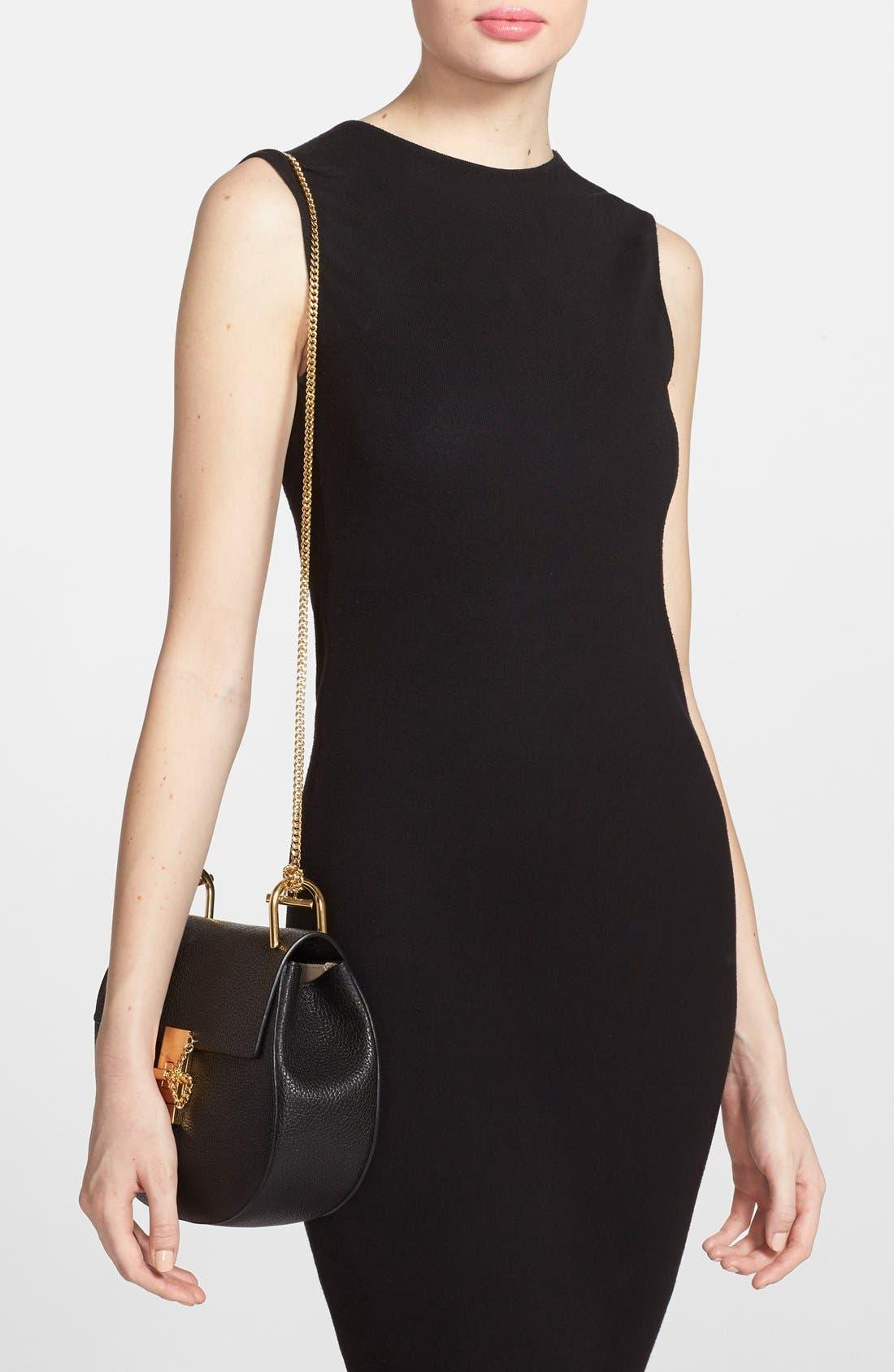 Drew Leather Shoulder Bag,                             Alternate thumbnail 3, color,                             BLACK GOLD HRDWRE