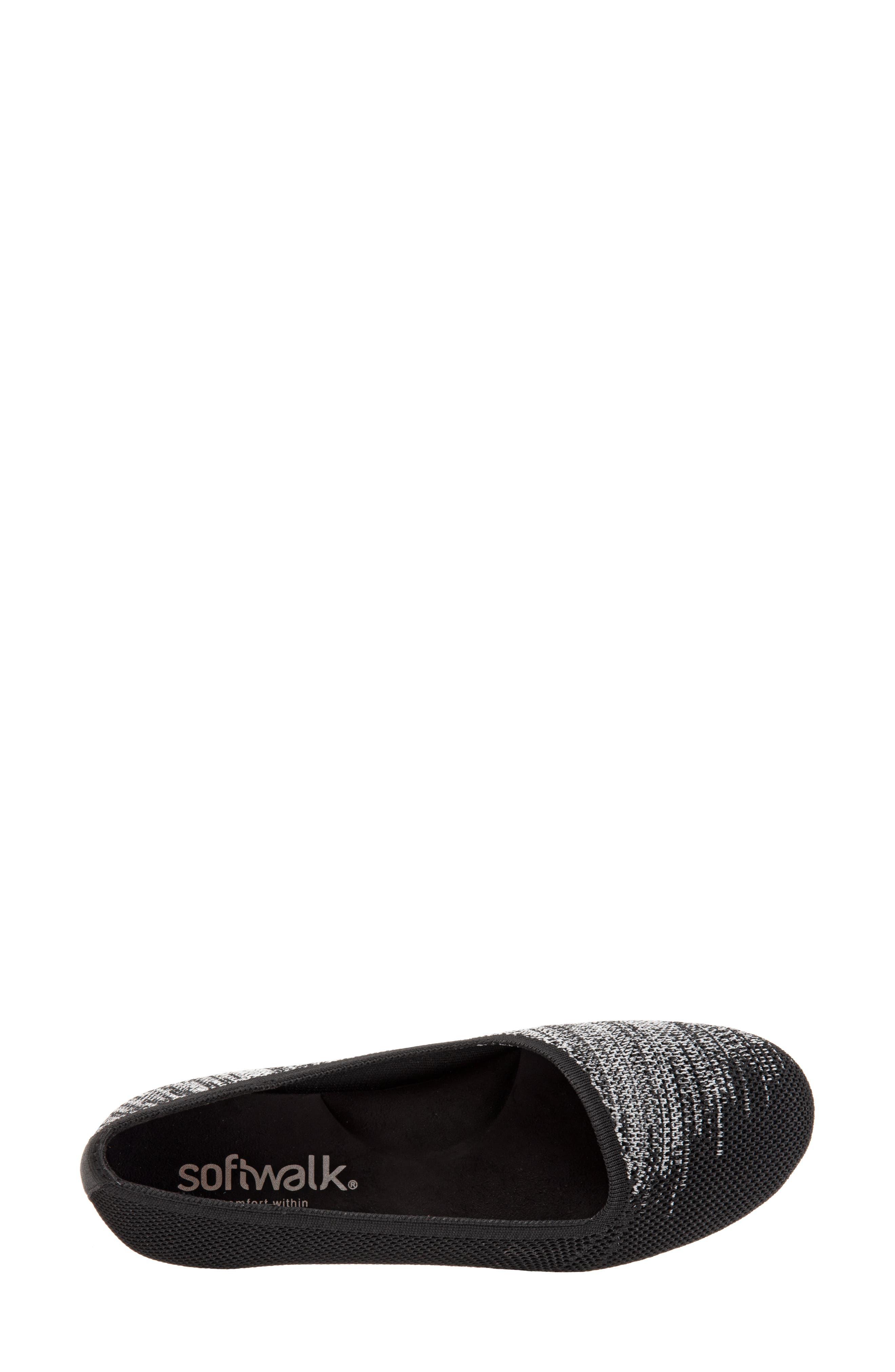 Sicily Knit Flat,                             Alternate thumbnail 5, color,                             BLACK KNIT FABRIC
