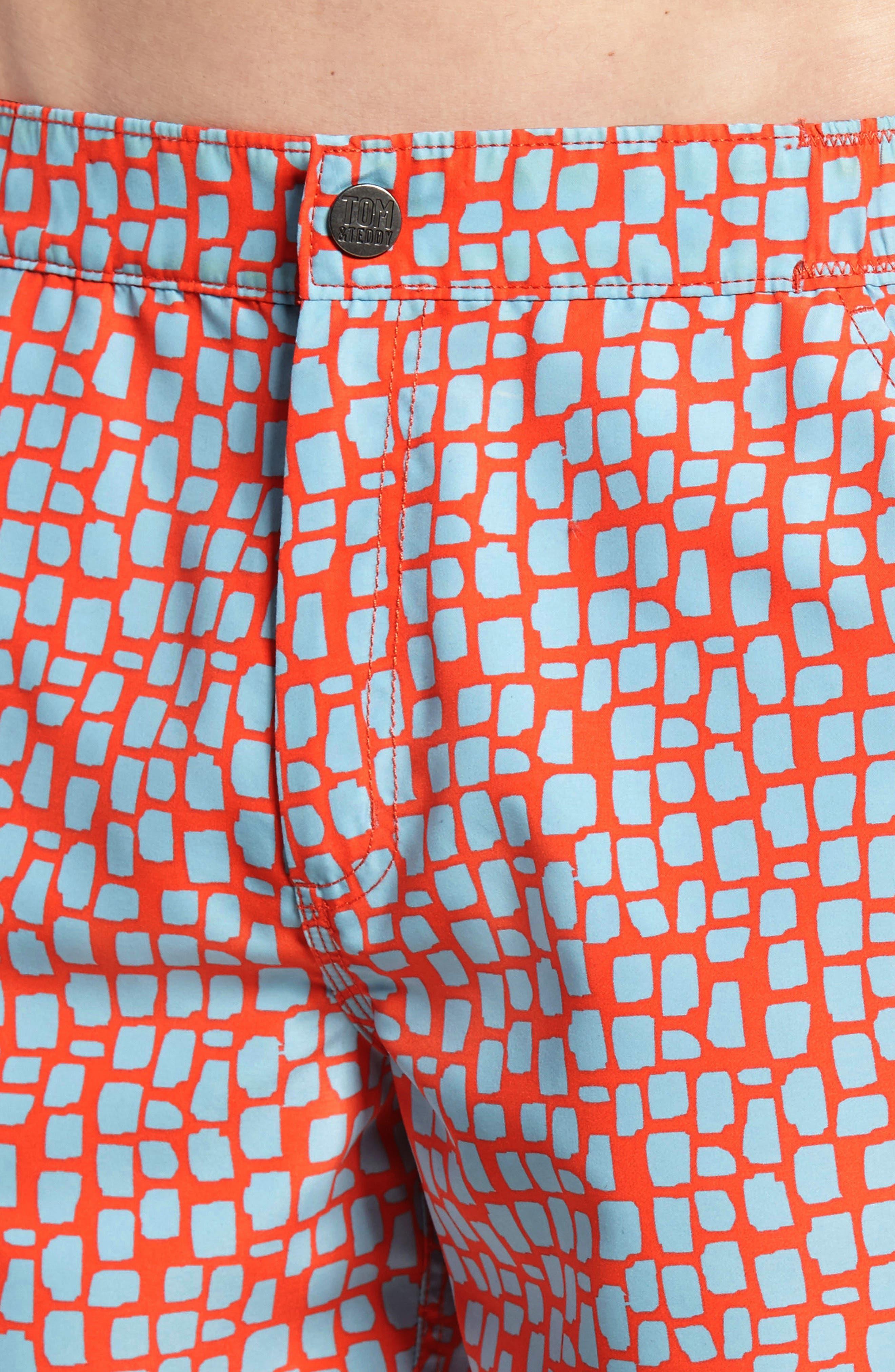 Skin Print Swim Trunks,                             Alternate thumbnail 4, color,                             HOT CORAL