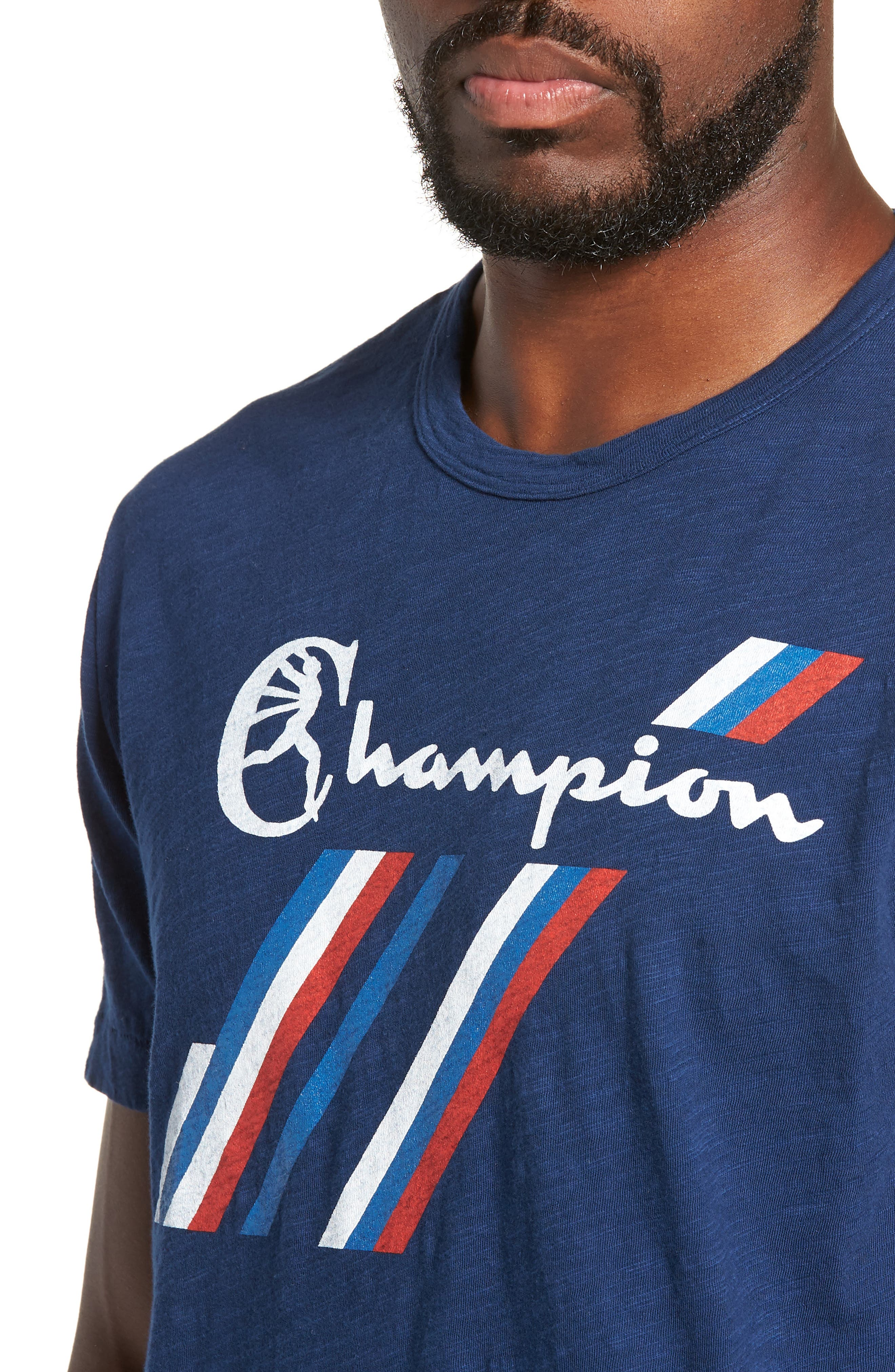 + Champion Stripe Graphic T-Shirt,                             Alternate thumbnail 4, color,                             MARINE