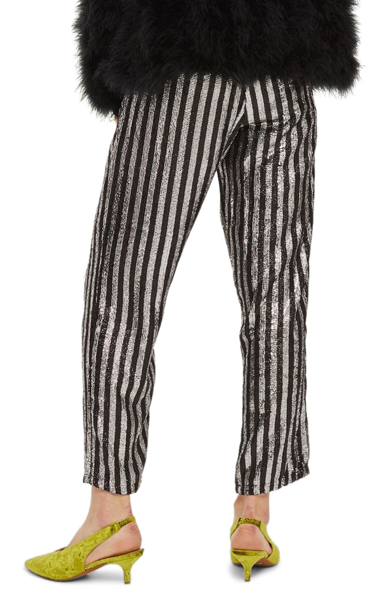 Sequin Stripe Mensy Trousers,                             Alternate thumbnail 2, color,                             001
