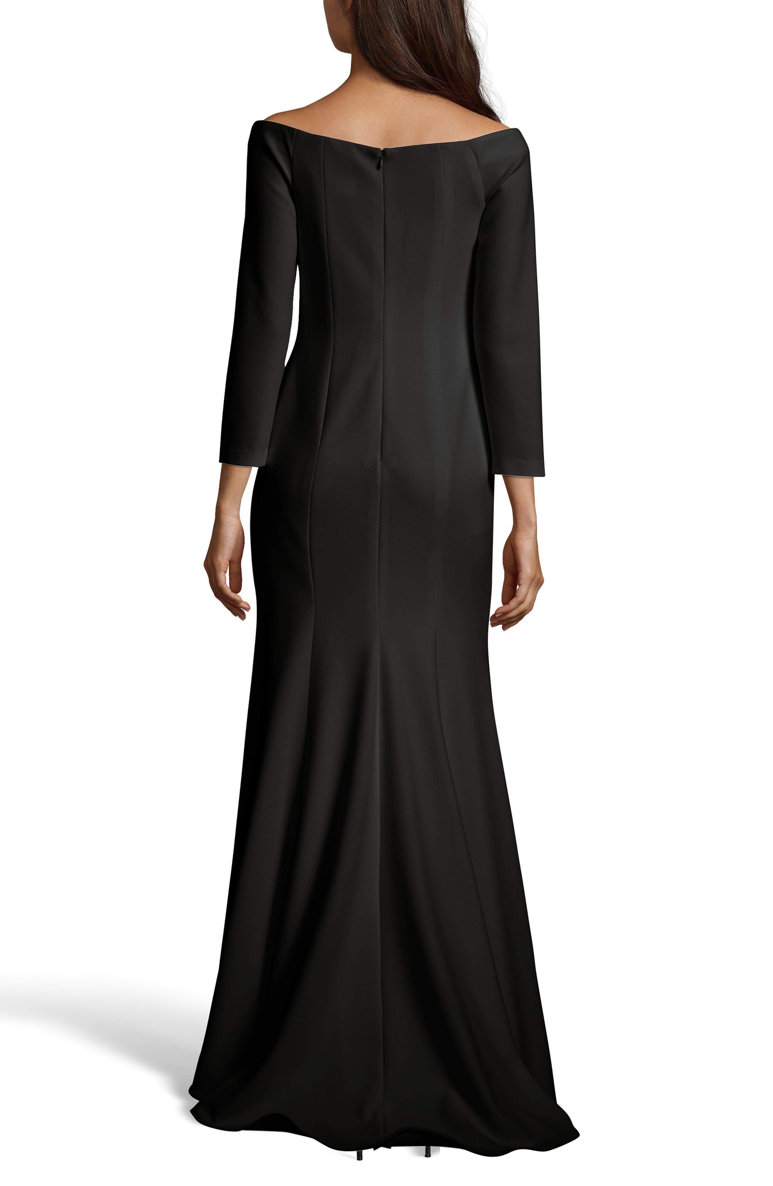 XSCAPE,                             Off the Shoulder Trumpet Gown,                             Alternate thumbnail 2, color,                             BLACK