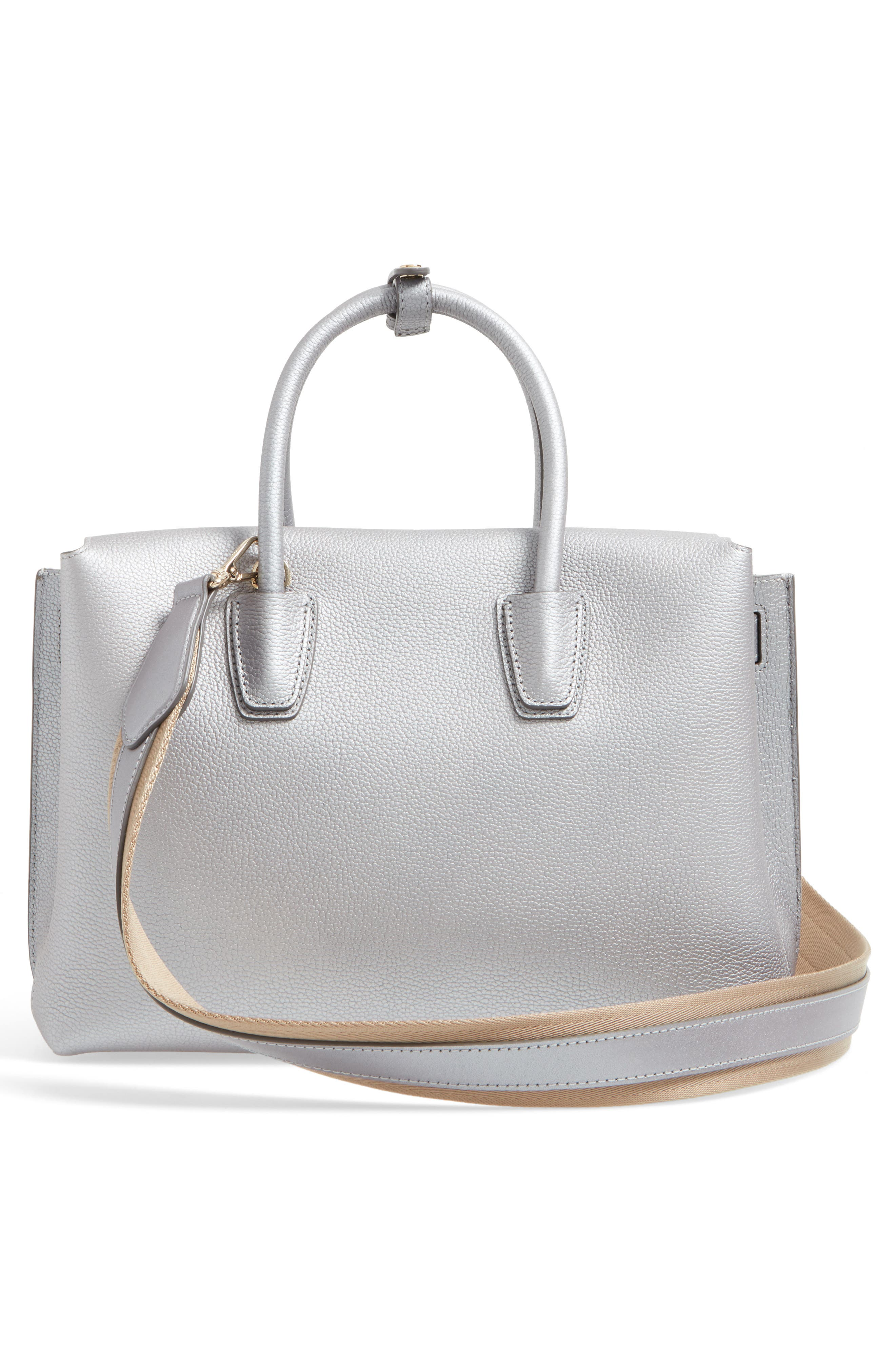 Medium Milla Leather Tote,                             Alternate thumbnail 3, color,                             045