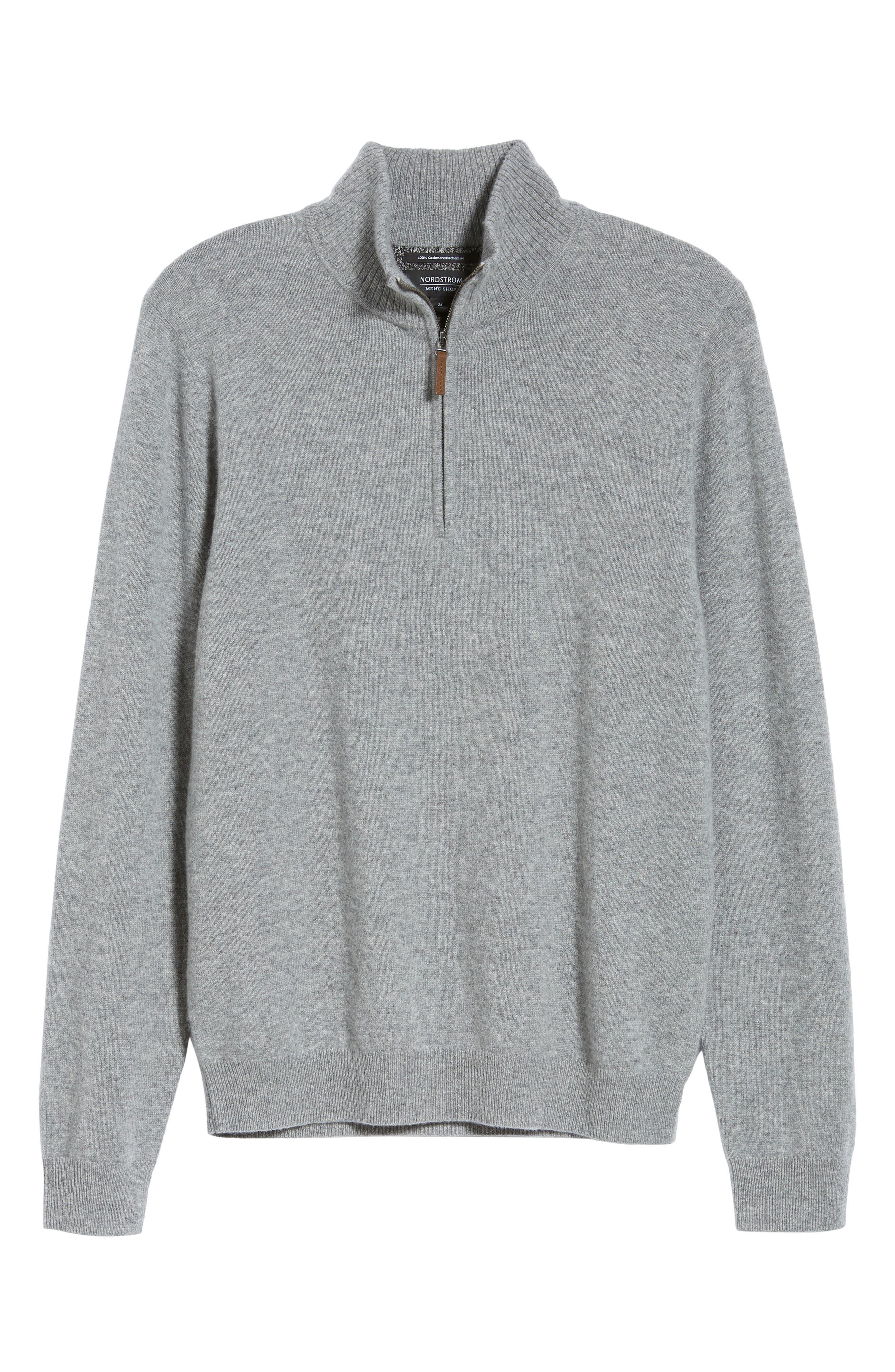 Regular Fit Cashmere Quarter Zip Pullover,                             Alternate thumbnail 6, color,                             GREY DRIFTWOOD