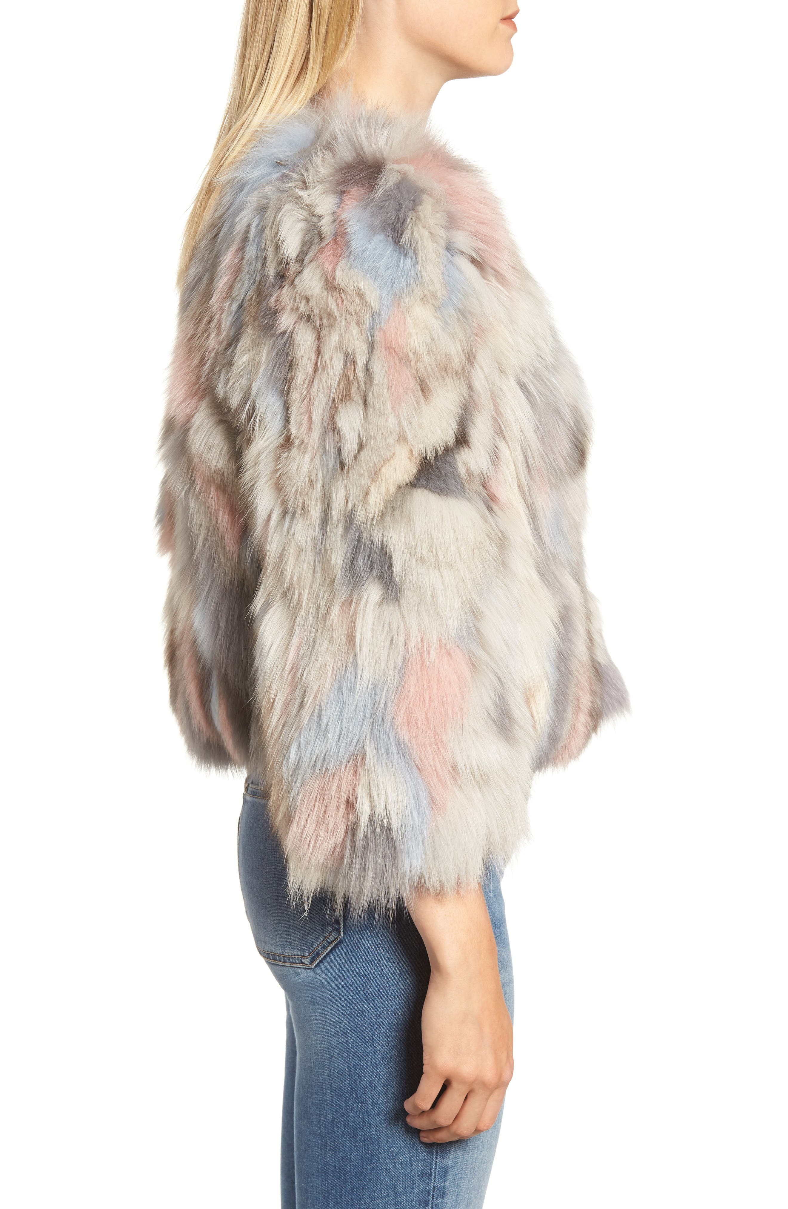 Genuine Fox Fur Bolero,                             Alternate thumbnail 3, color,                             NUDE MULTI