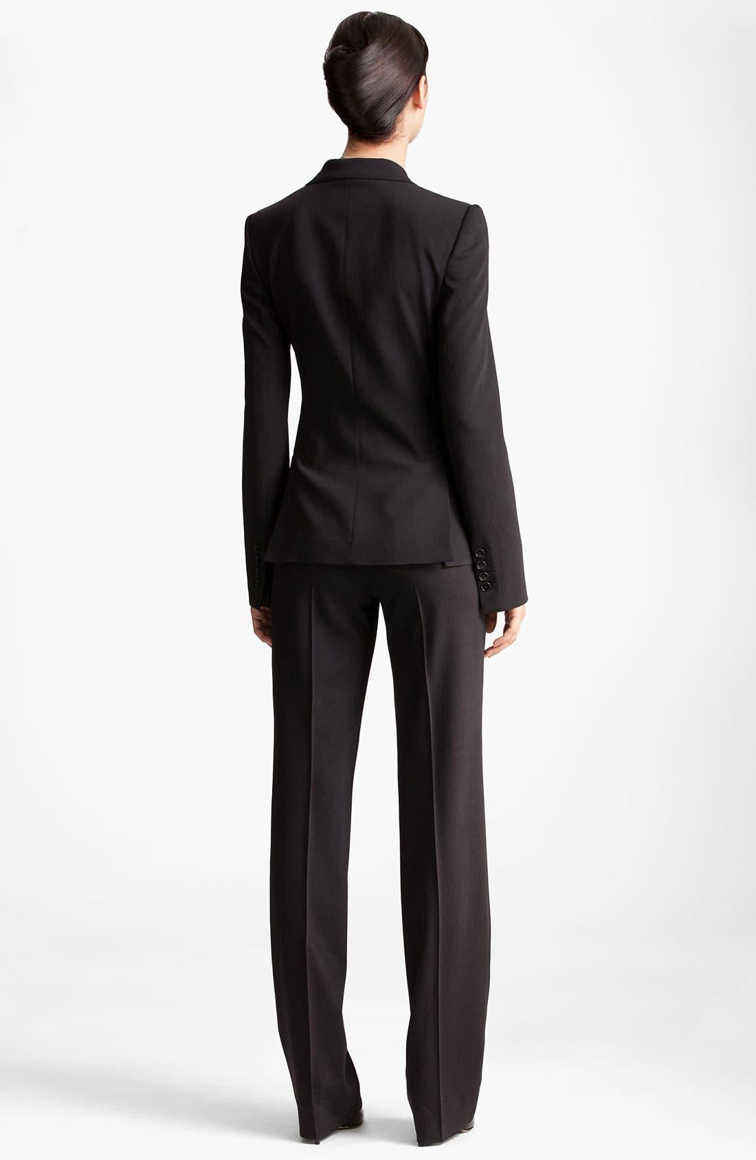 Two Button Stretch Wool Jacket,                             Alternate thumbnail 11, color,                             BLACK