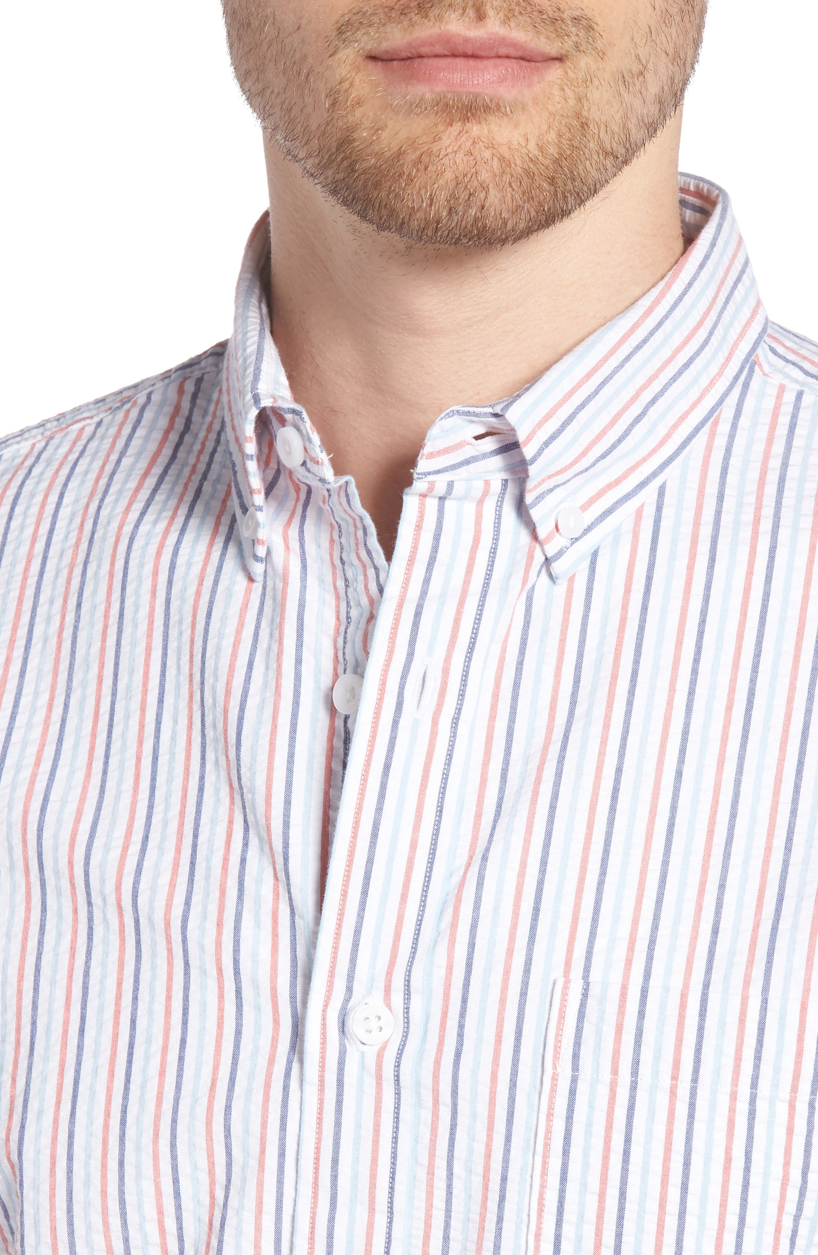 Trim Fit Seersucker Short Sleeve Sport Shirt,                             Alternate thumbnail 4, color,                             WHITE MULTI PENCIL STRIPE