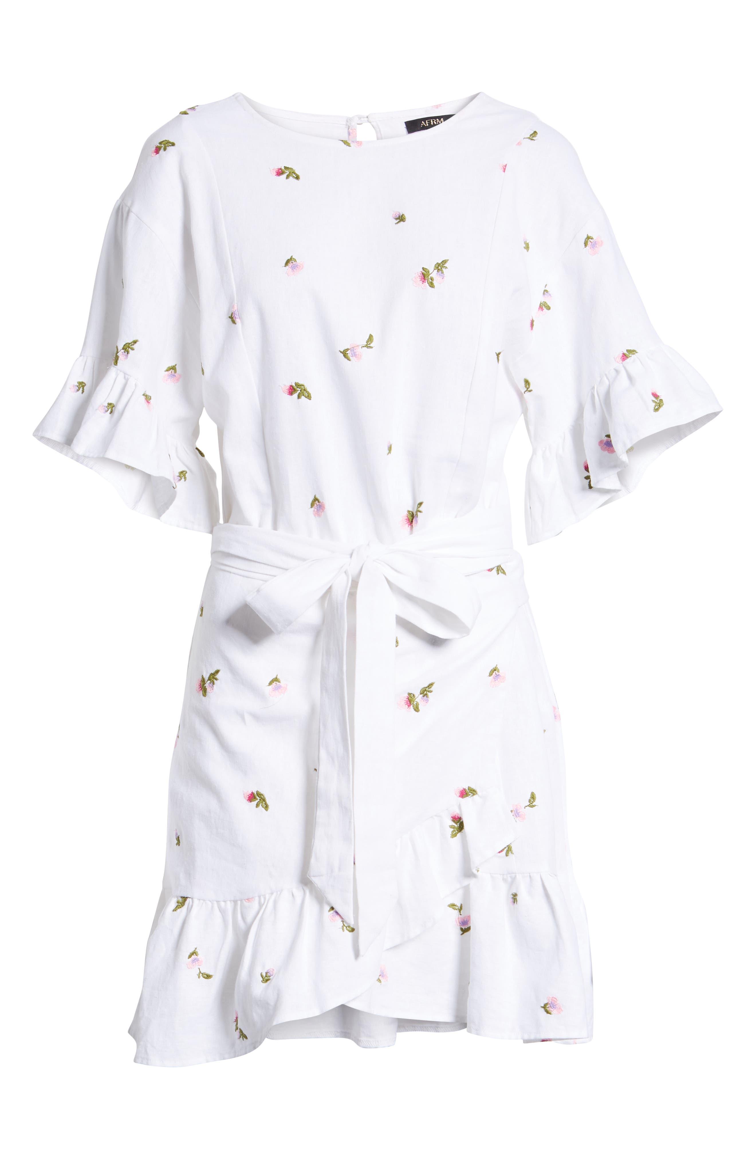 Tokyo Ruffle Sleeve Wrap Dress,                             Alternate thumbnail 7, color,                             DITSY EMBROIDERY