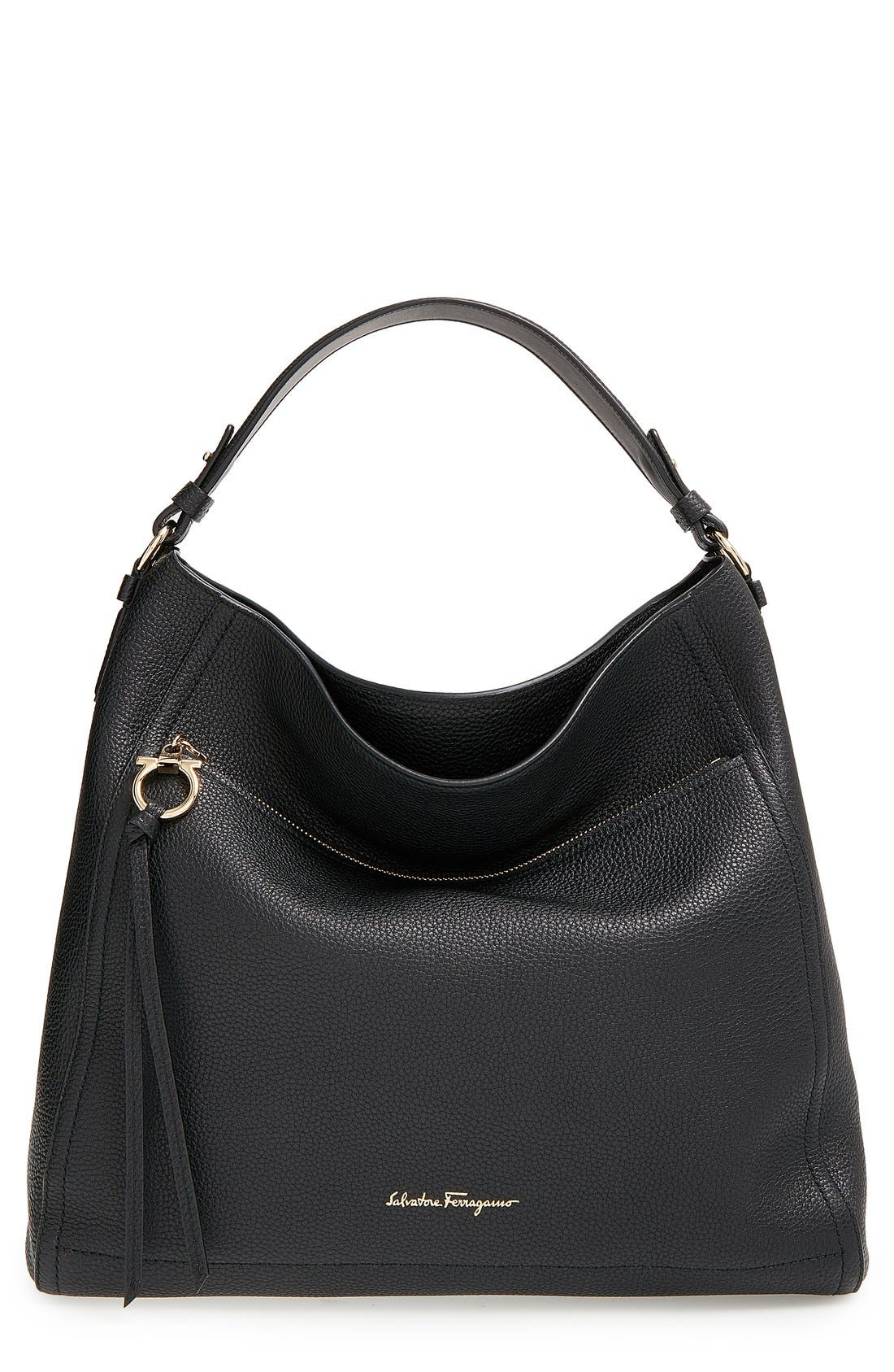Pebbled Leather Hobo,                         Main,                         color, 001