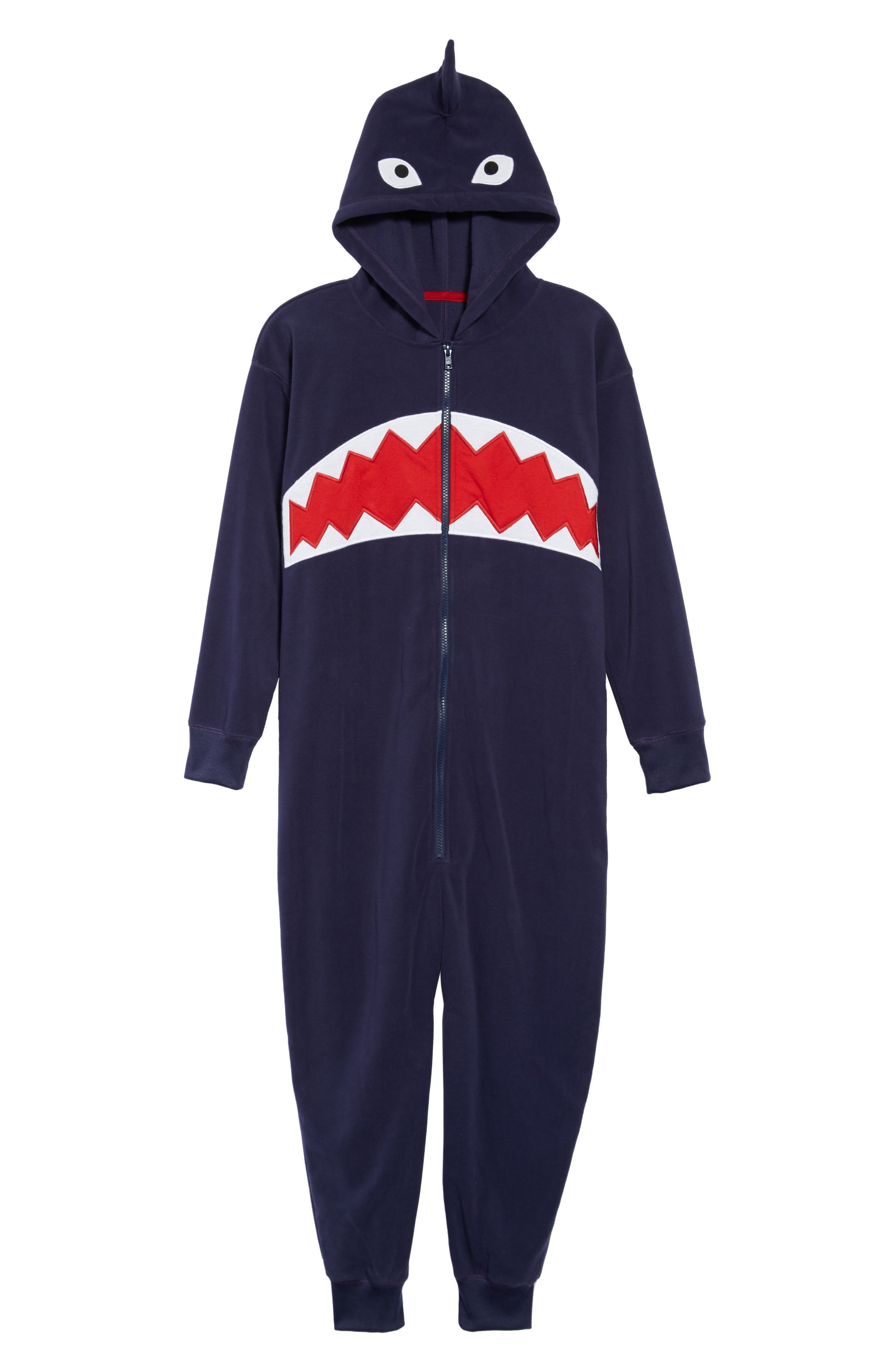 Animal One-Piece Hooded Pajamas,                             Main thumbnail 1, color,                             NAVY PEACOAT SHARK