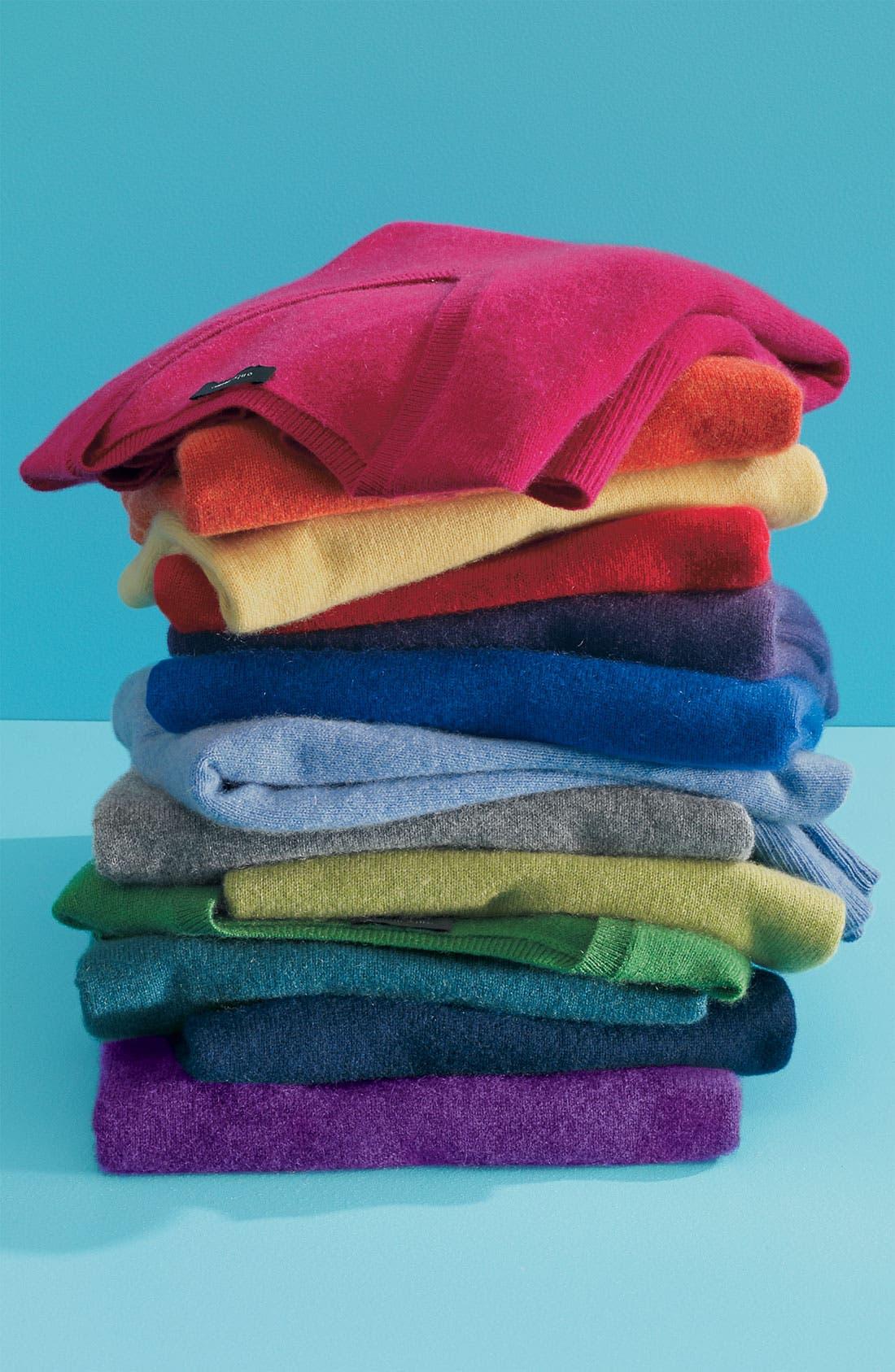 ONLY MINE,                             V-Neck Cashmere Sweater,                             Alternate thumbnail 3, color,                             336