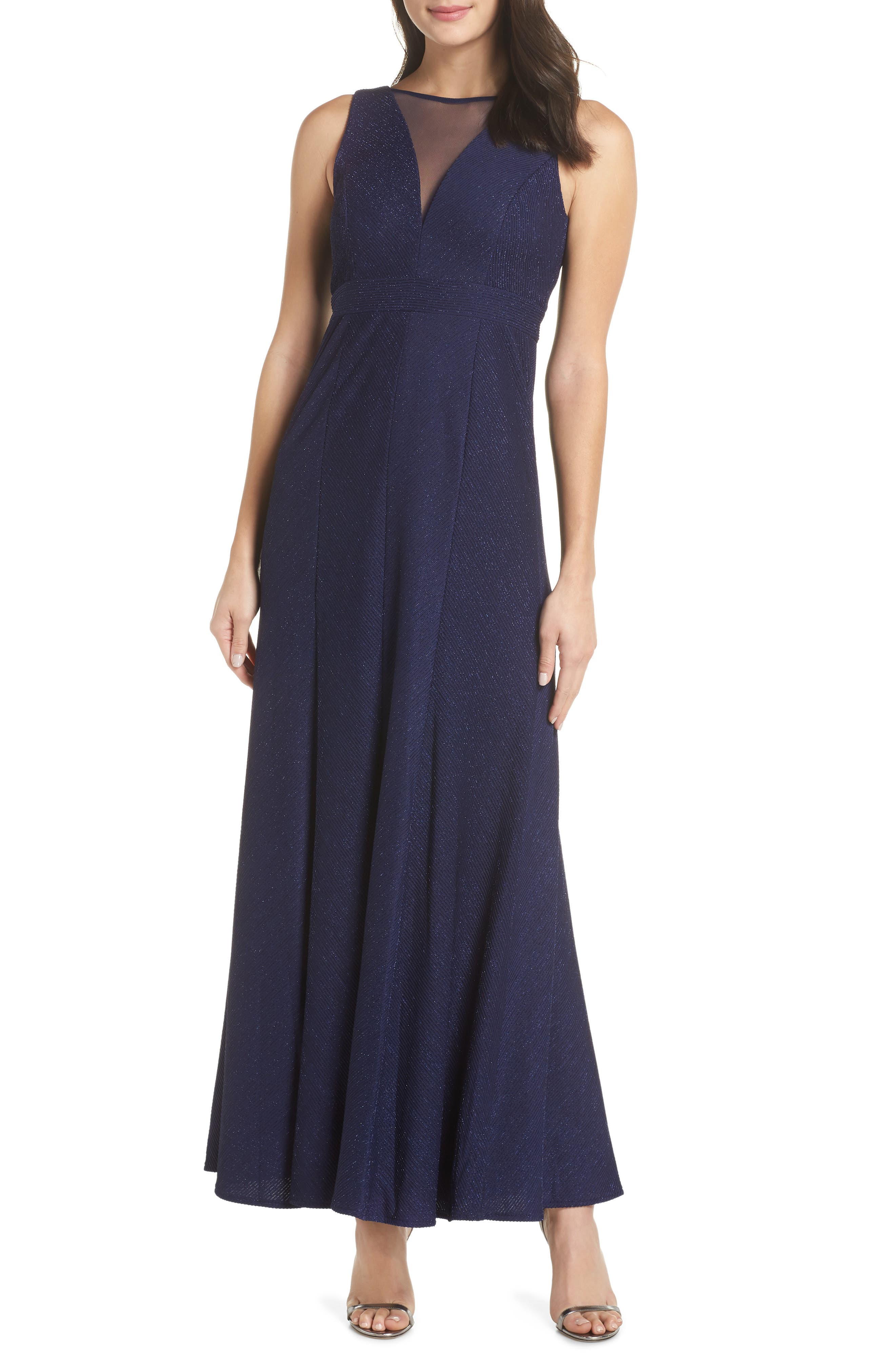 Morgan & Co. Metallic Ribbed Trumpet Gown, Blue