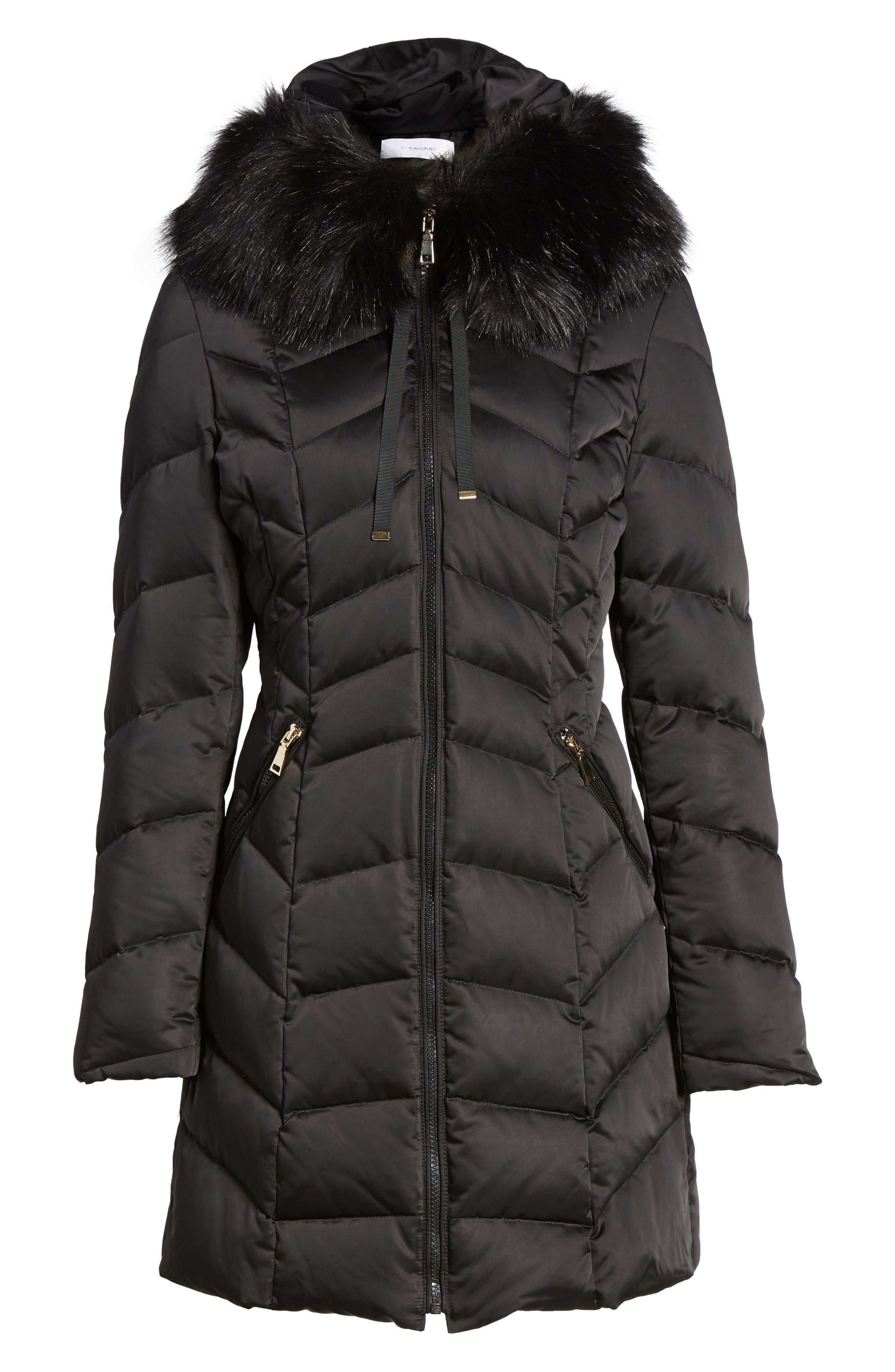 Gwen Chevron Down & Feather Faux Fur Coat,                             Alternate thumbnail 6, color,                             BLACK