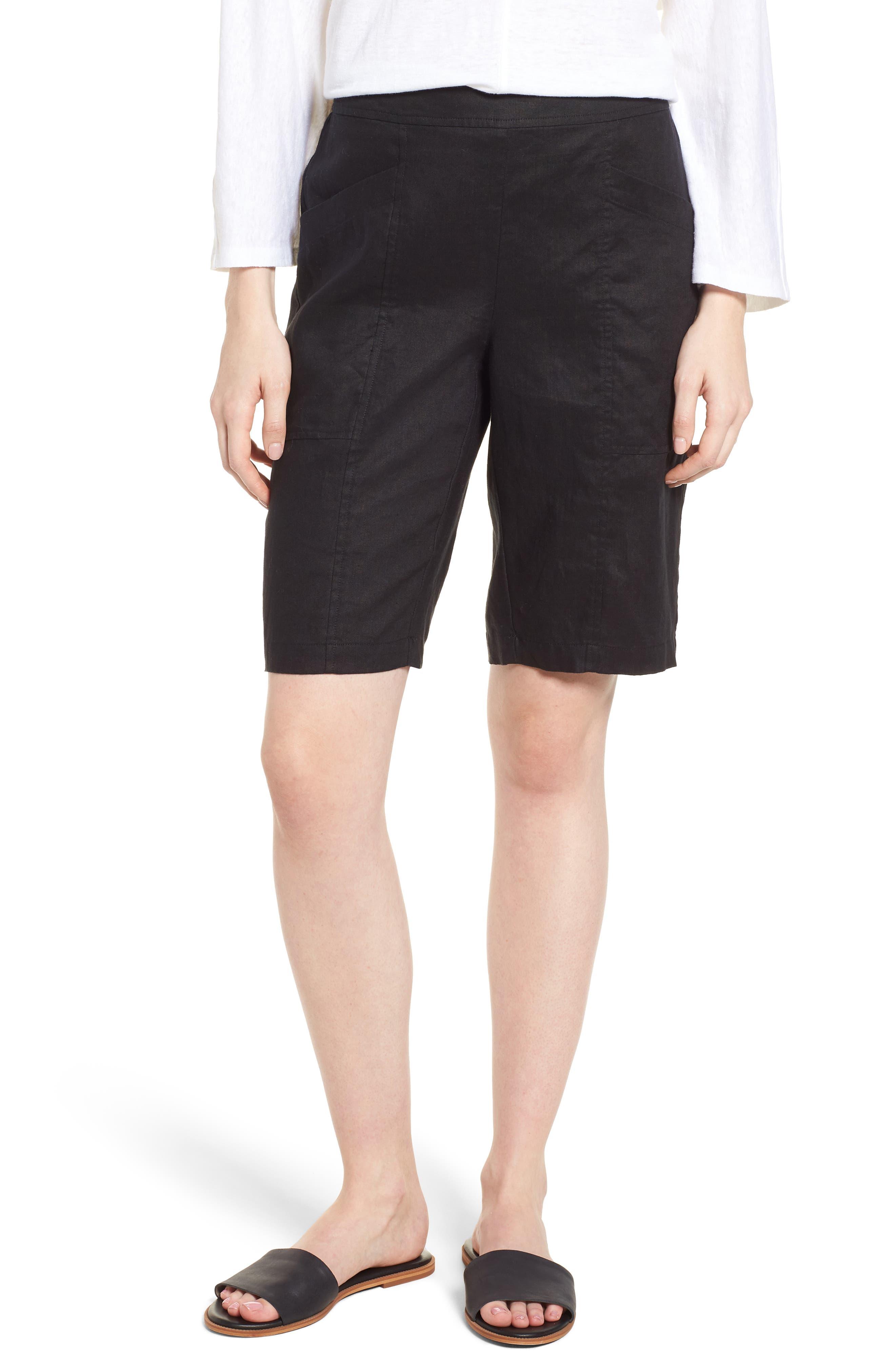 EILEEN FISHER Organic Linen City Shorts, Main, color, 001