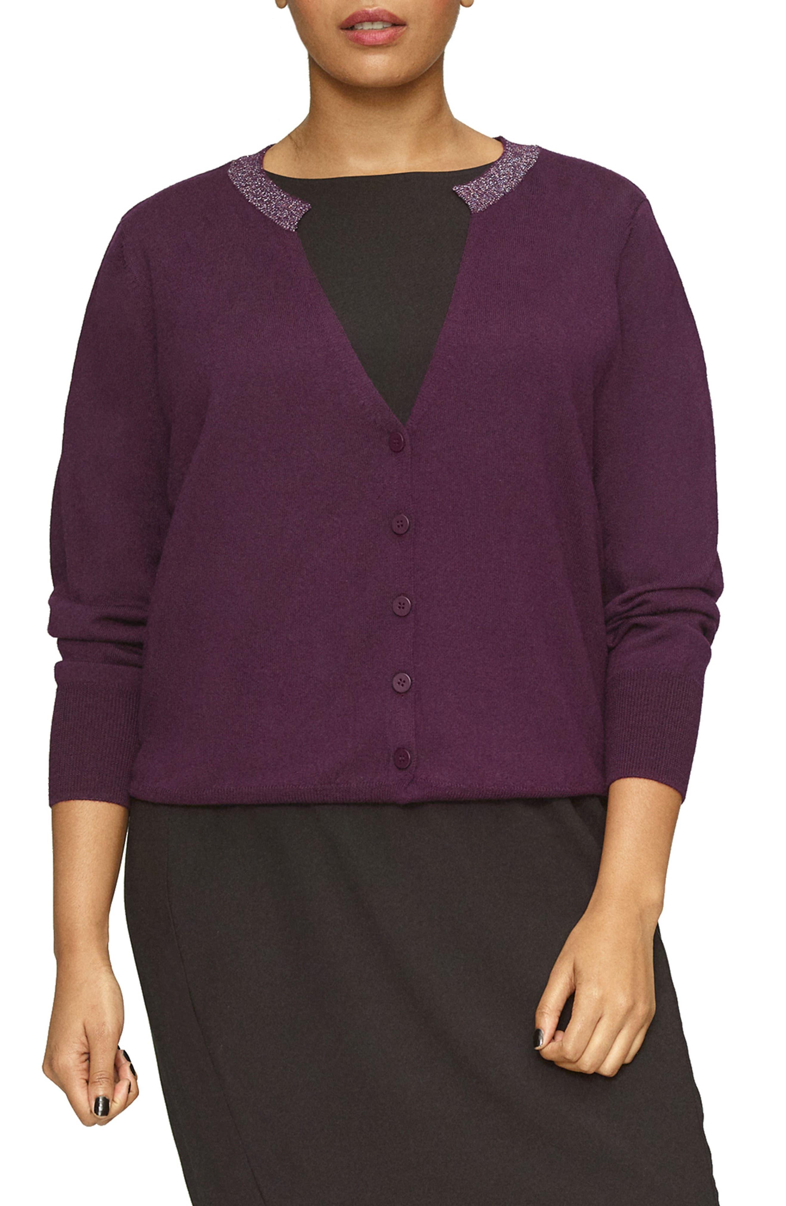 Plus Size Universal Standard Deep V-Neck Merino Wool Cardigan, Size S (1-16W) - Purple