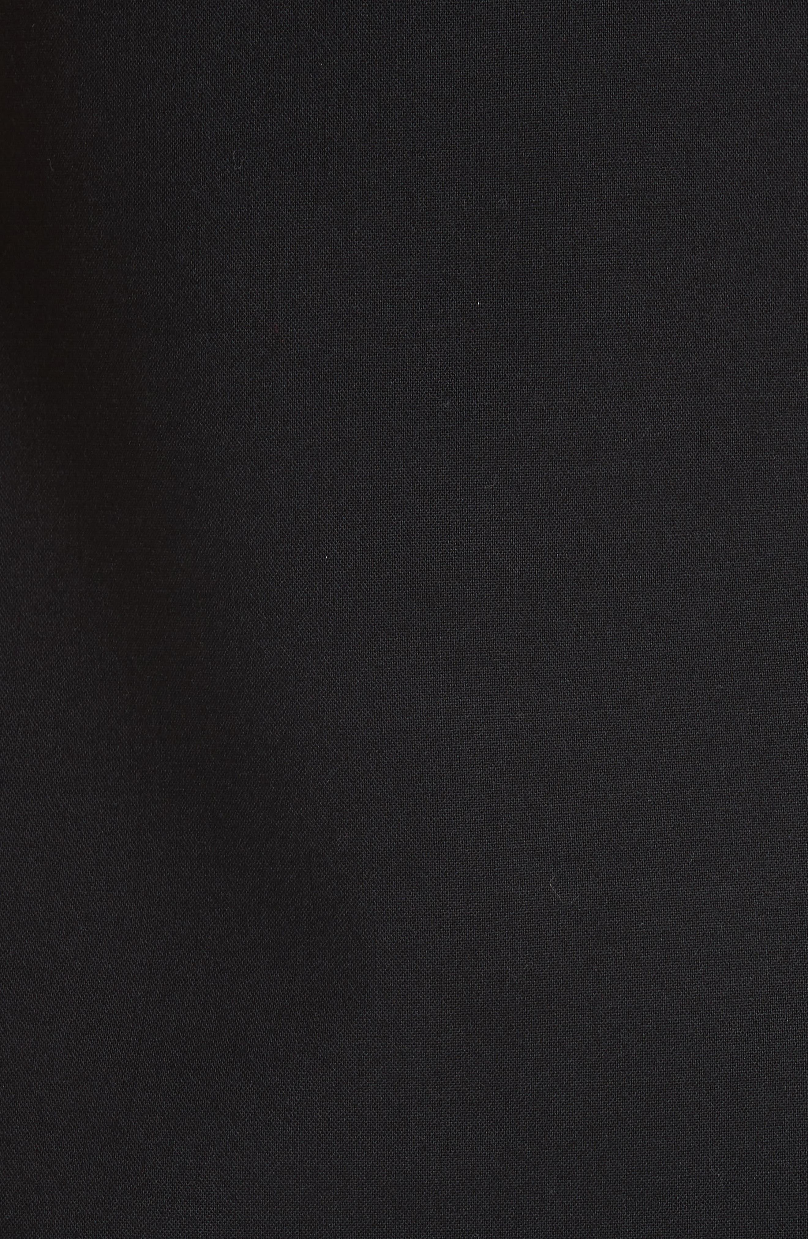 V-Hardware Double Crepe Dress,                             Alternate thumbnail 6, color,                             BLACK