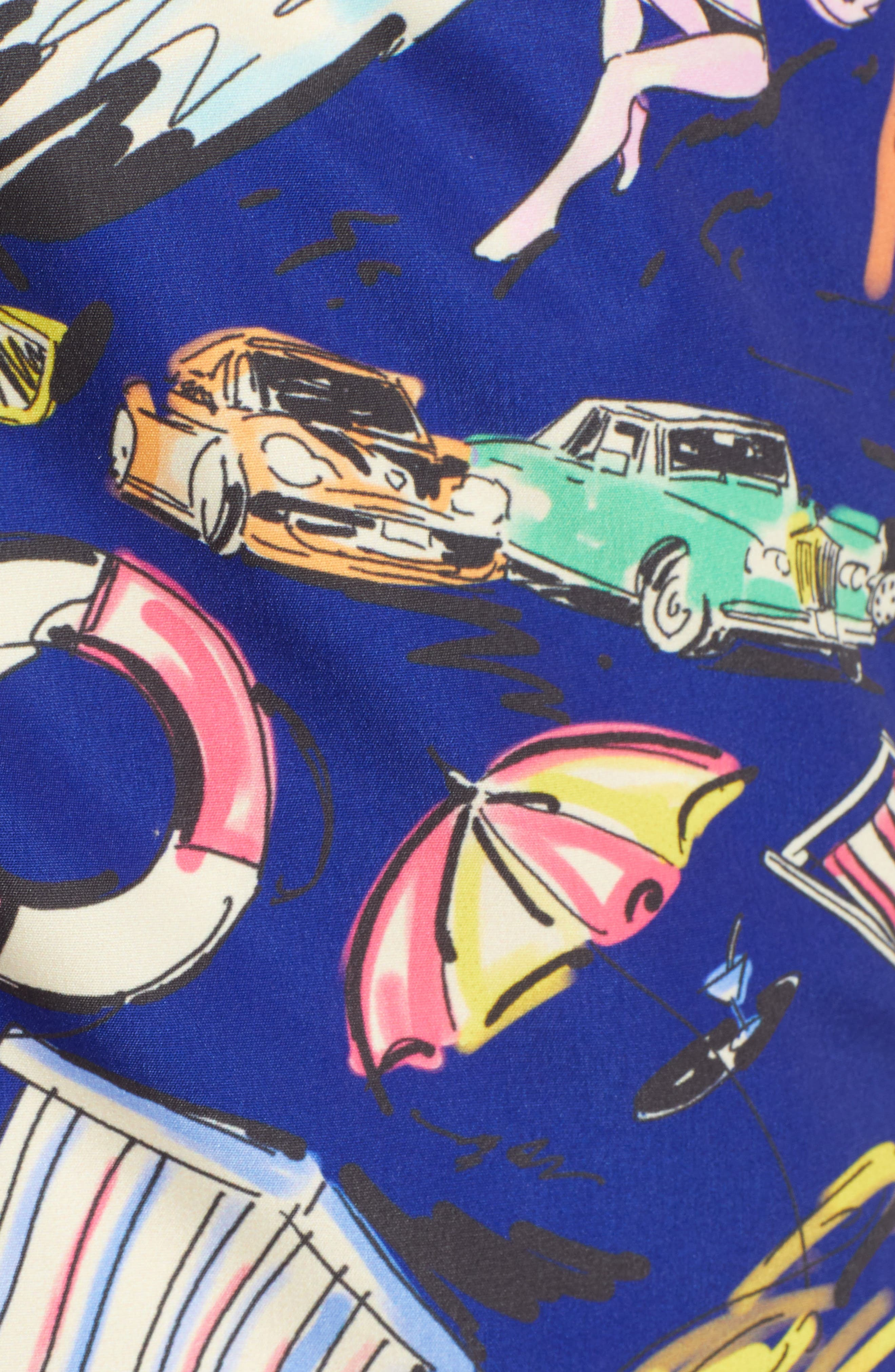 Print Swim Trunks,                             Alternate thumbnail 5, color,                             NIGHT BLUE