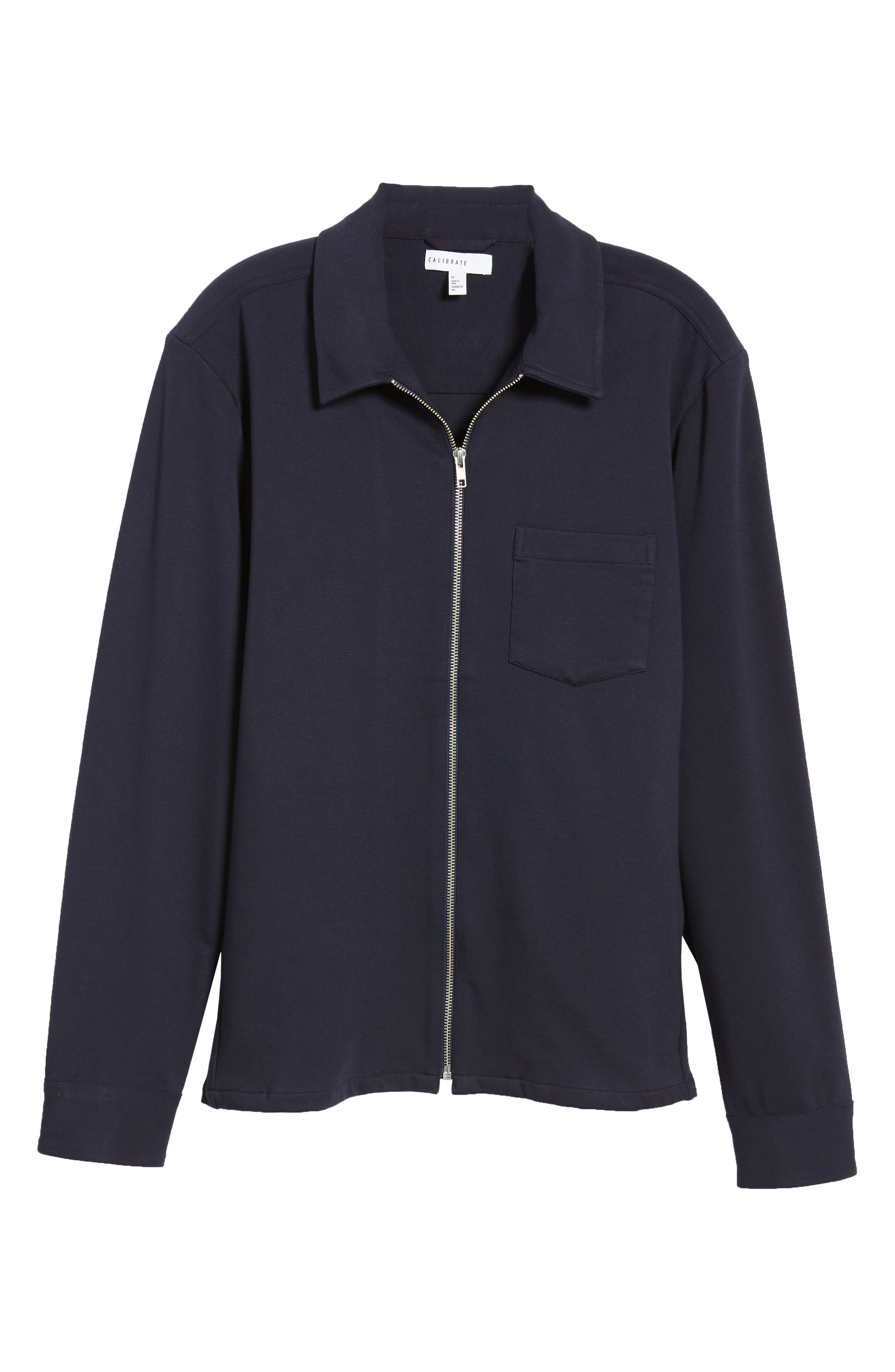 Zip Front Shirt Jacket,                             Alternate thumbnail 6, color,                             NAVY NIGHT