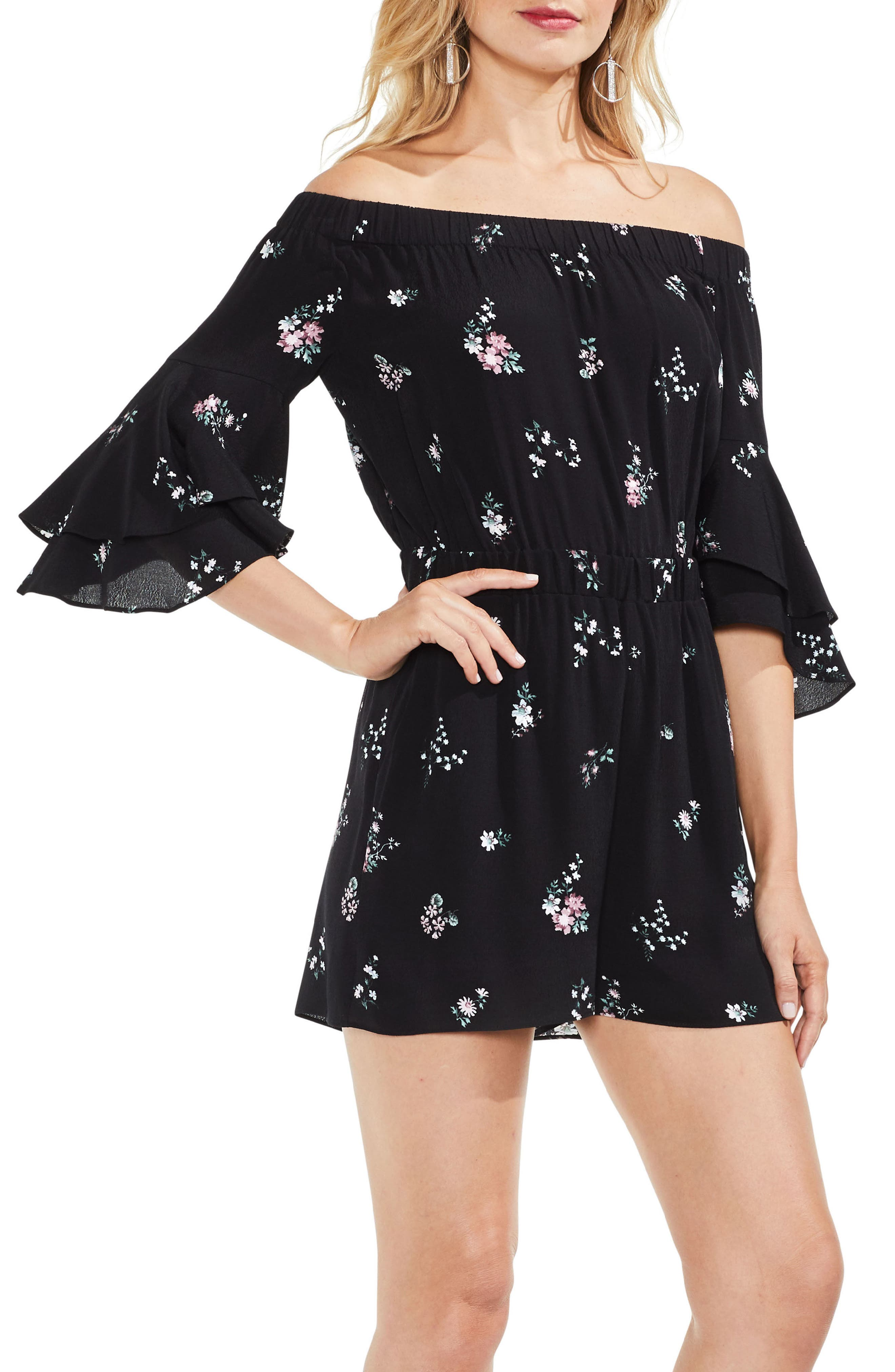 Off the Shoulder Ruffle Sleeve Floral Romper,                         Main,                         color, 006