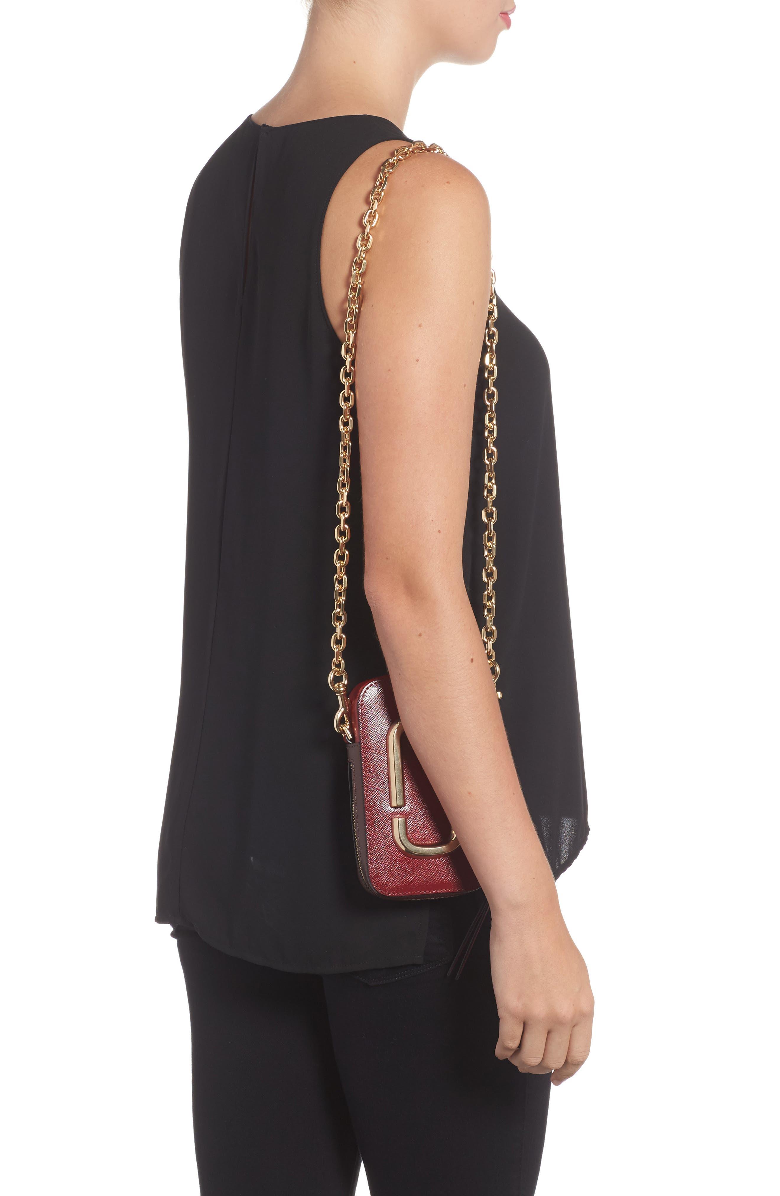 Hot Shot Saffiano Leather Shoulder Bag,                             Alternate thumbnail 8, color,