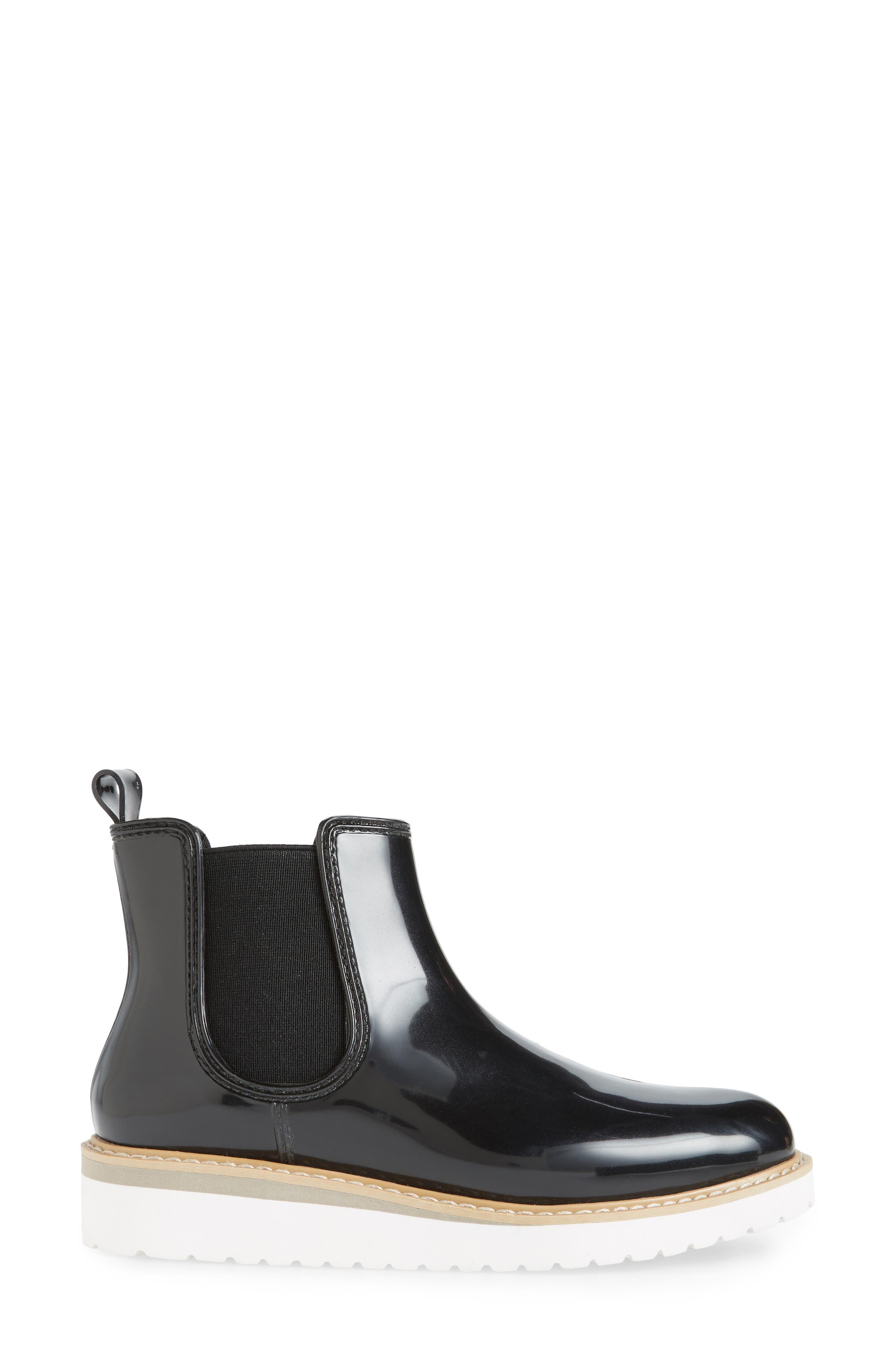 Kensington Chelsea Rain Boot,                             Alternate thumbnail 3, color,                             BLACK/ WHITE