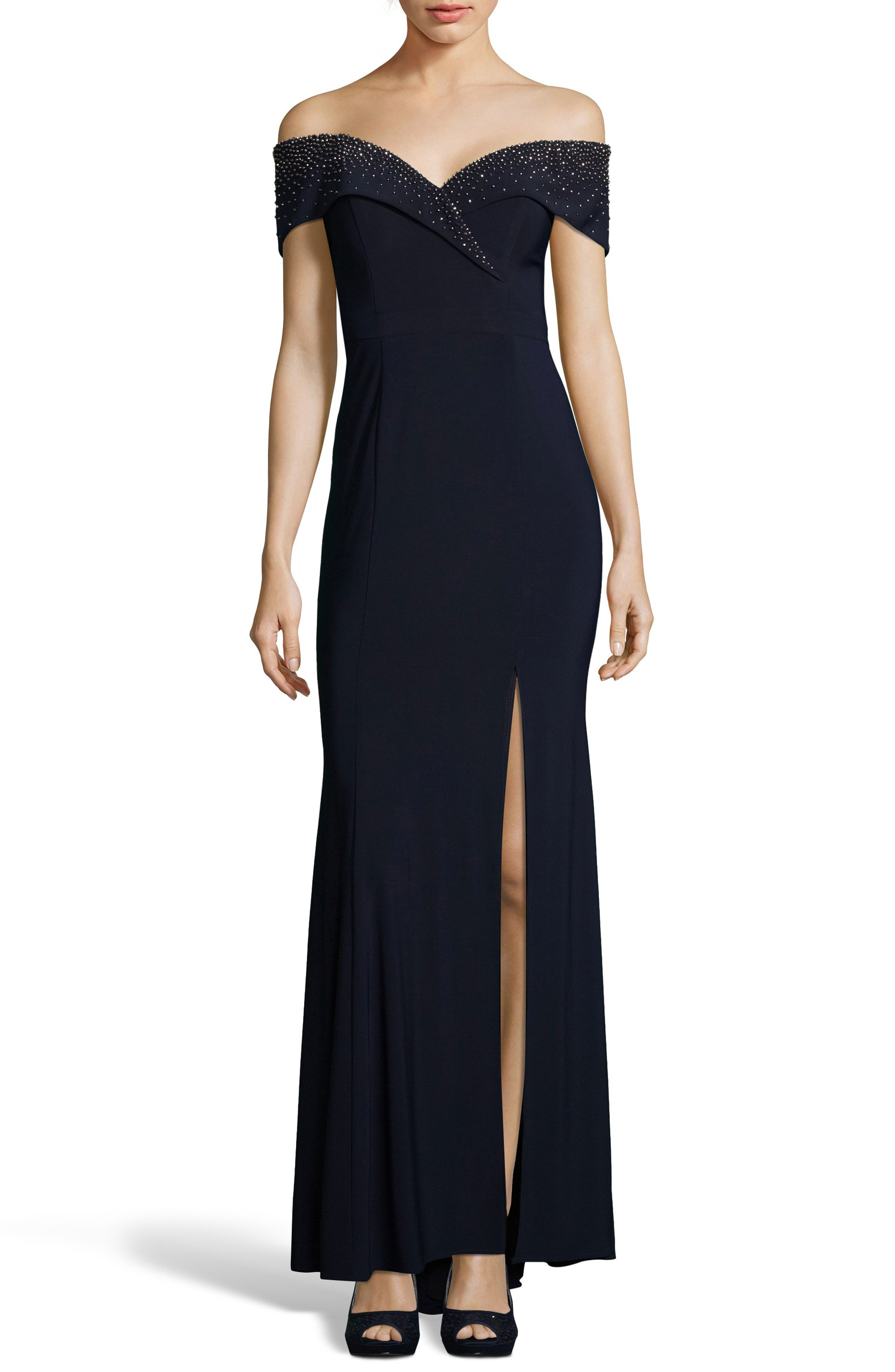 Embellished Off the Shoulder Gown,                             Main thumbnail 1, color,                             NAVY/ GUNMETAL