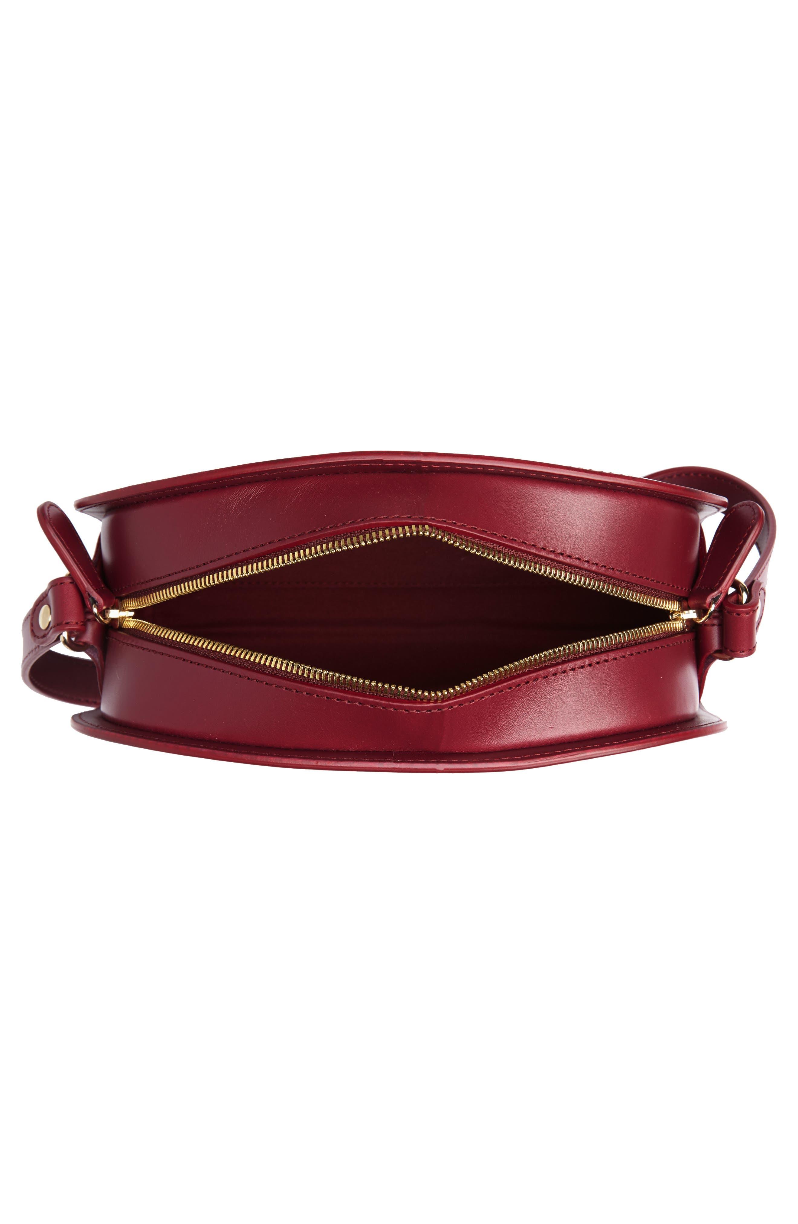 Sac Demi Lune Leather Crossbody Bag,                             Alternate thumbnail 4, color,                             FRAMBOISE