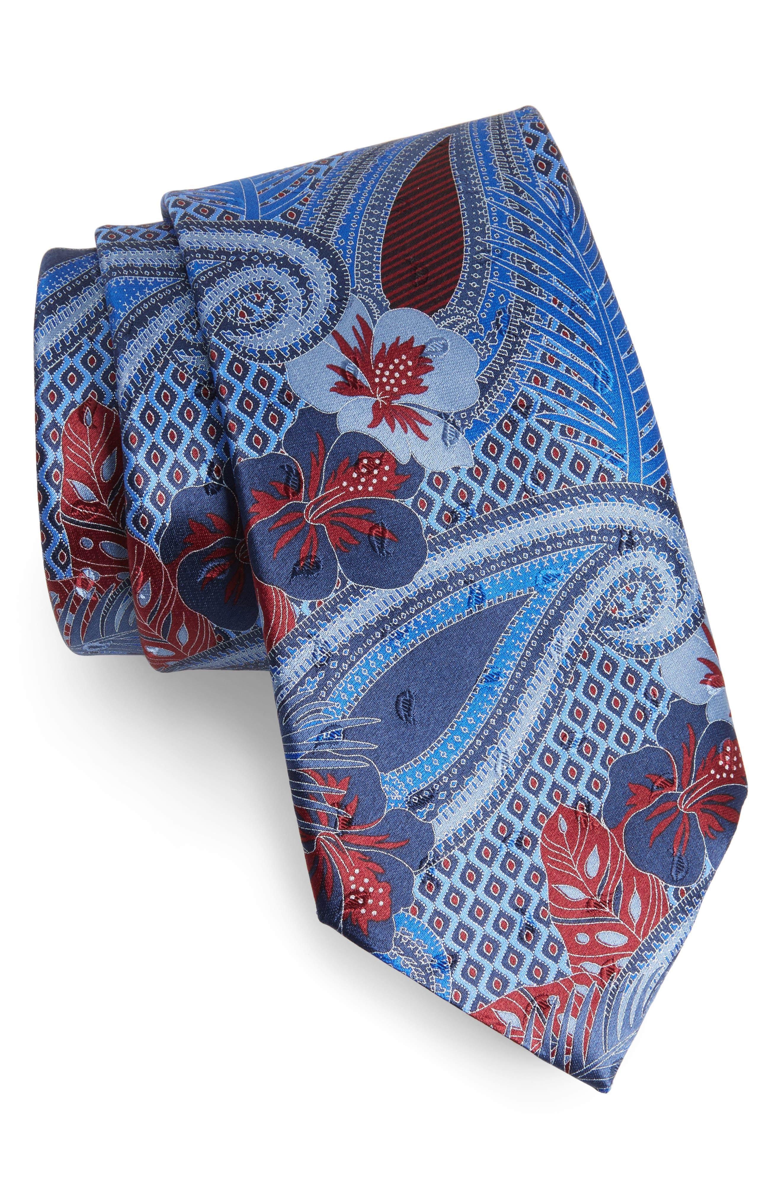 Floral Silk Tie,                         Main,                         color, 438