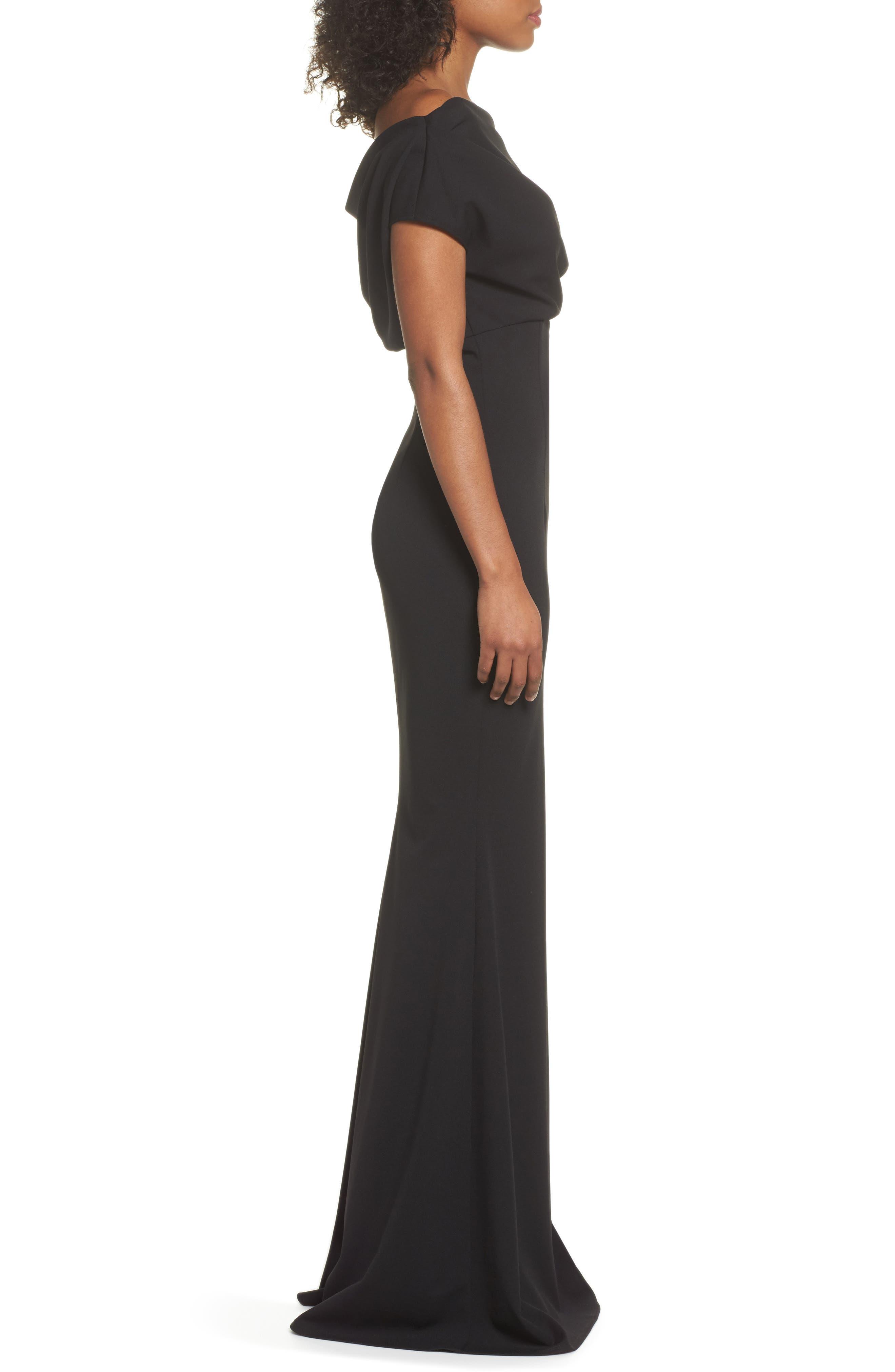 Hannah One-Shoulder Crepe Trumpet Gown,                             Alternate thumbnail 3, color,                             BLACK