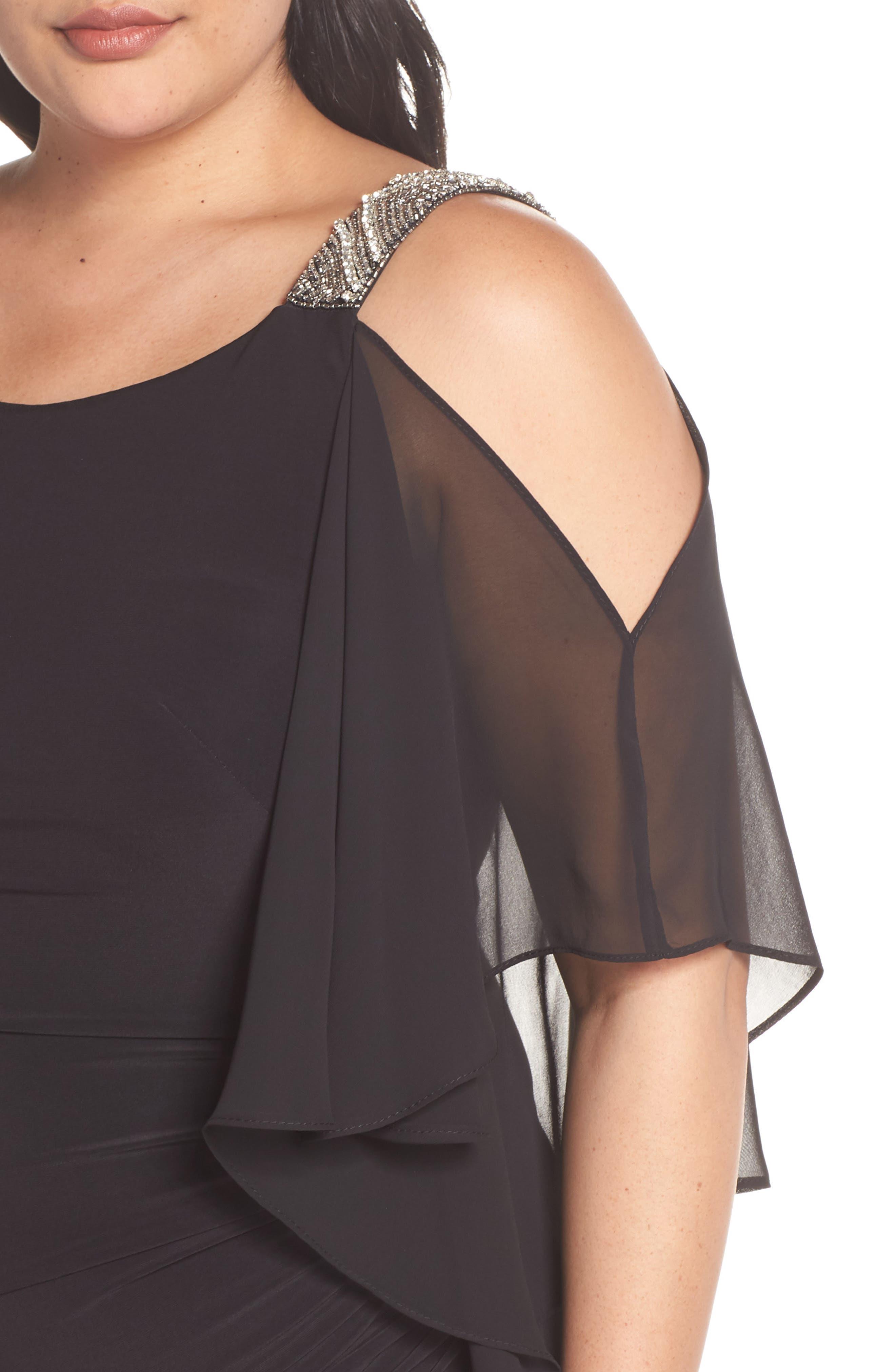 Cold Shoulder Sparkle Dress,                             Alternate thumbnail 4, color,                             BLACK/ SILVER