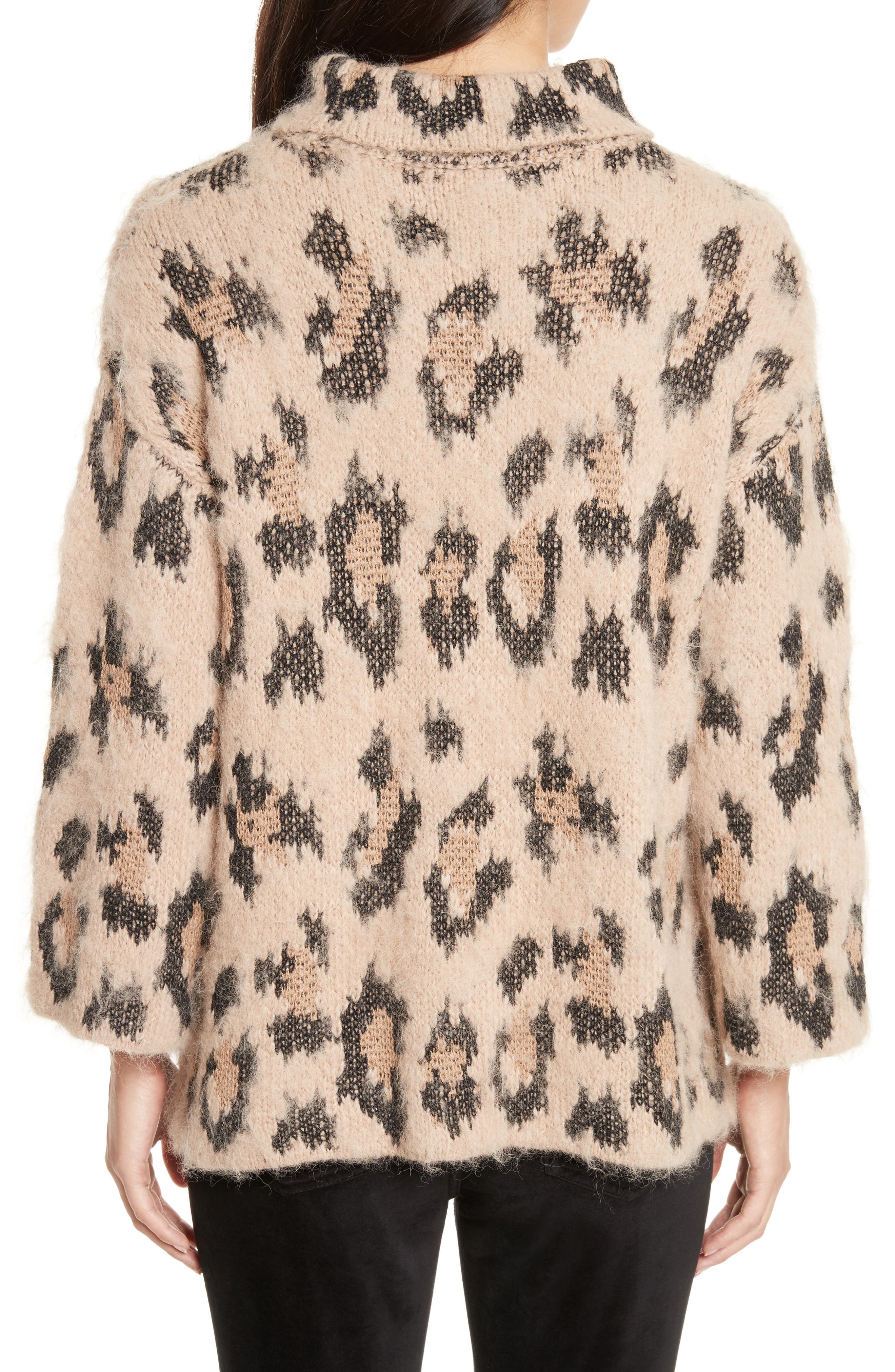leopard print chunky sweater,                             Alternate thumbnail 2, color,                             206