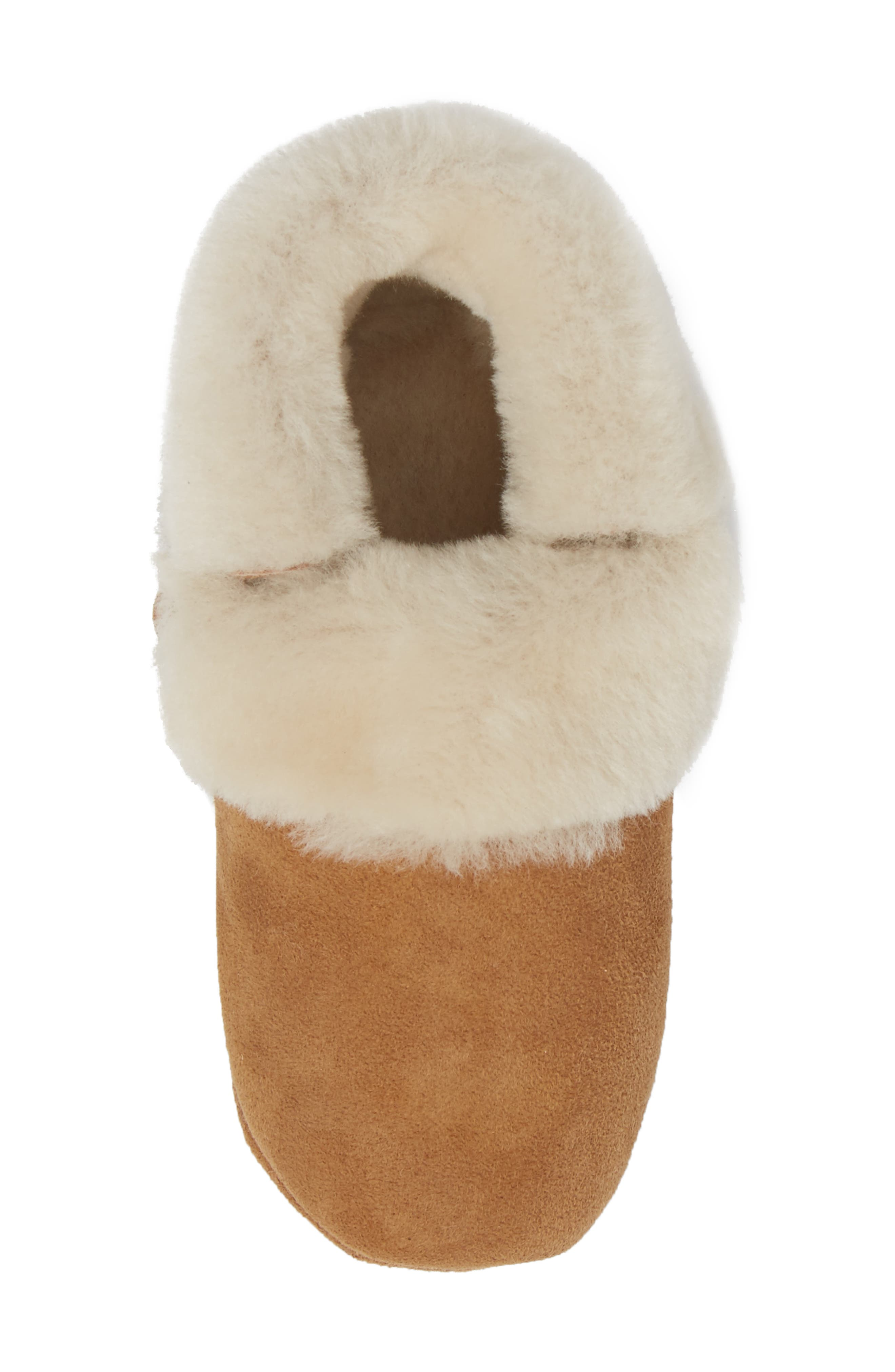 Solvi Genuine Shearling Low Cuffed Bootie,                             Alternate thumbnail 5, color,                             CHESTNUT