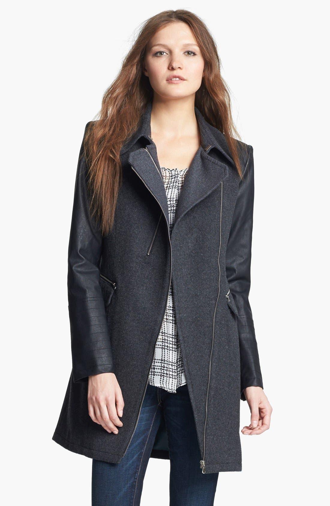 Faux Leather Sleeve Moto Coat, Main, color, 021