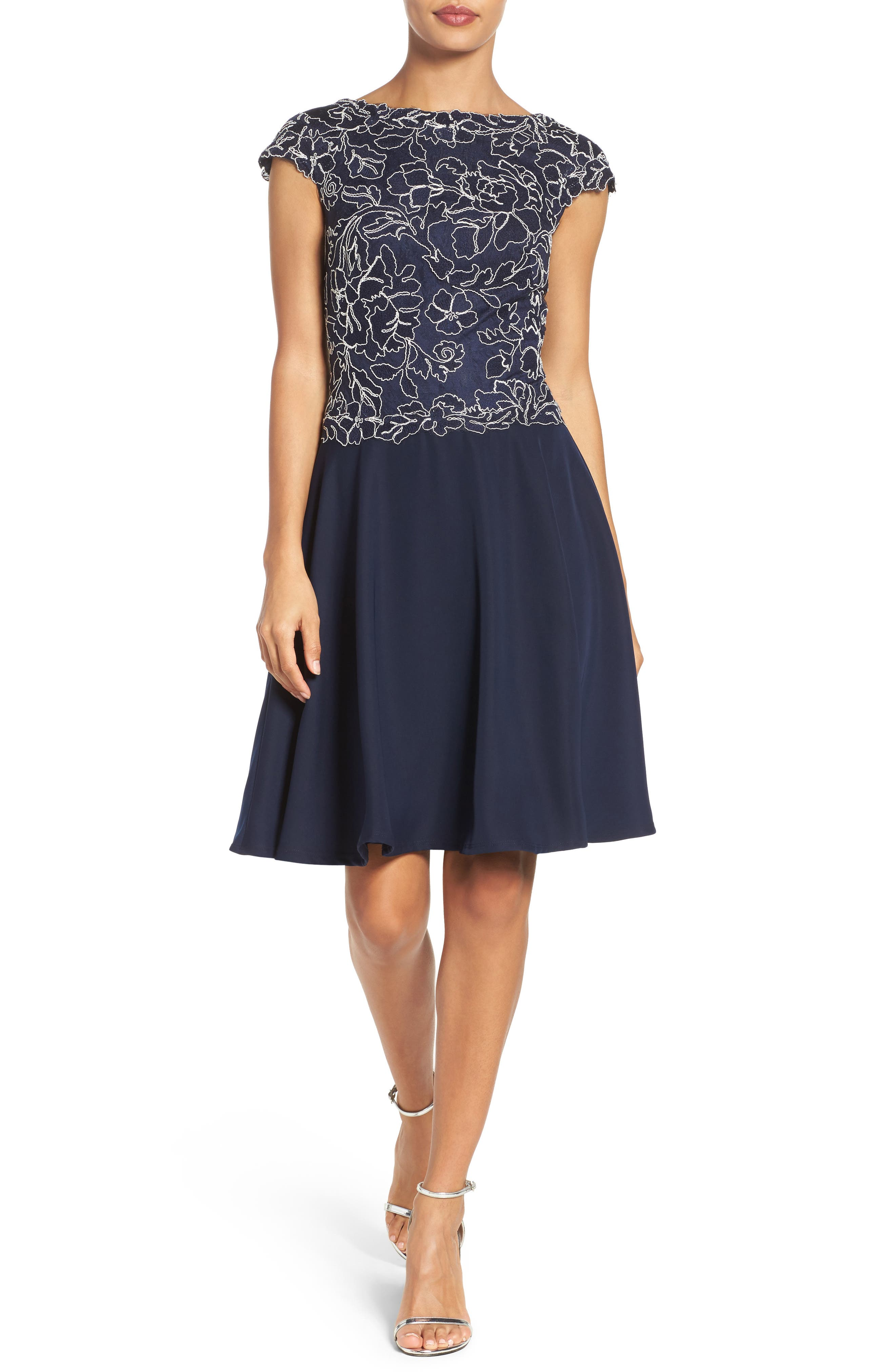 Embroidered Lace Fit & Flare Dress,                             Alternate thumbnail 15, color,