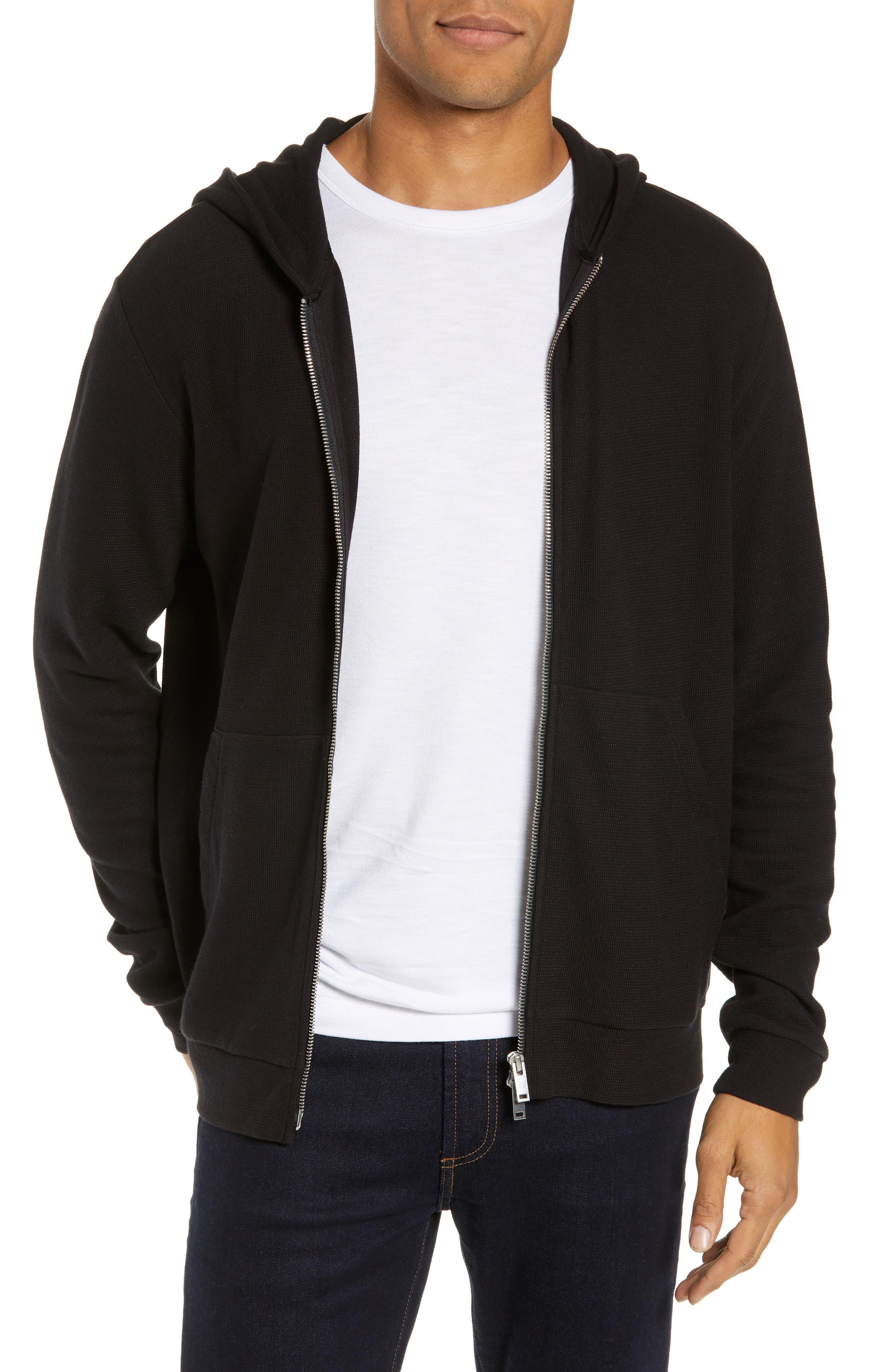 THEORY Essential Zip Hoodie, Main, color, BLACK