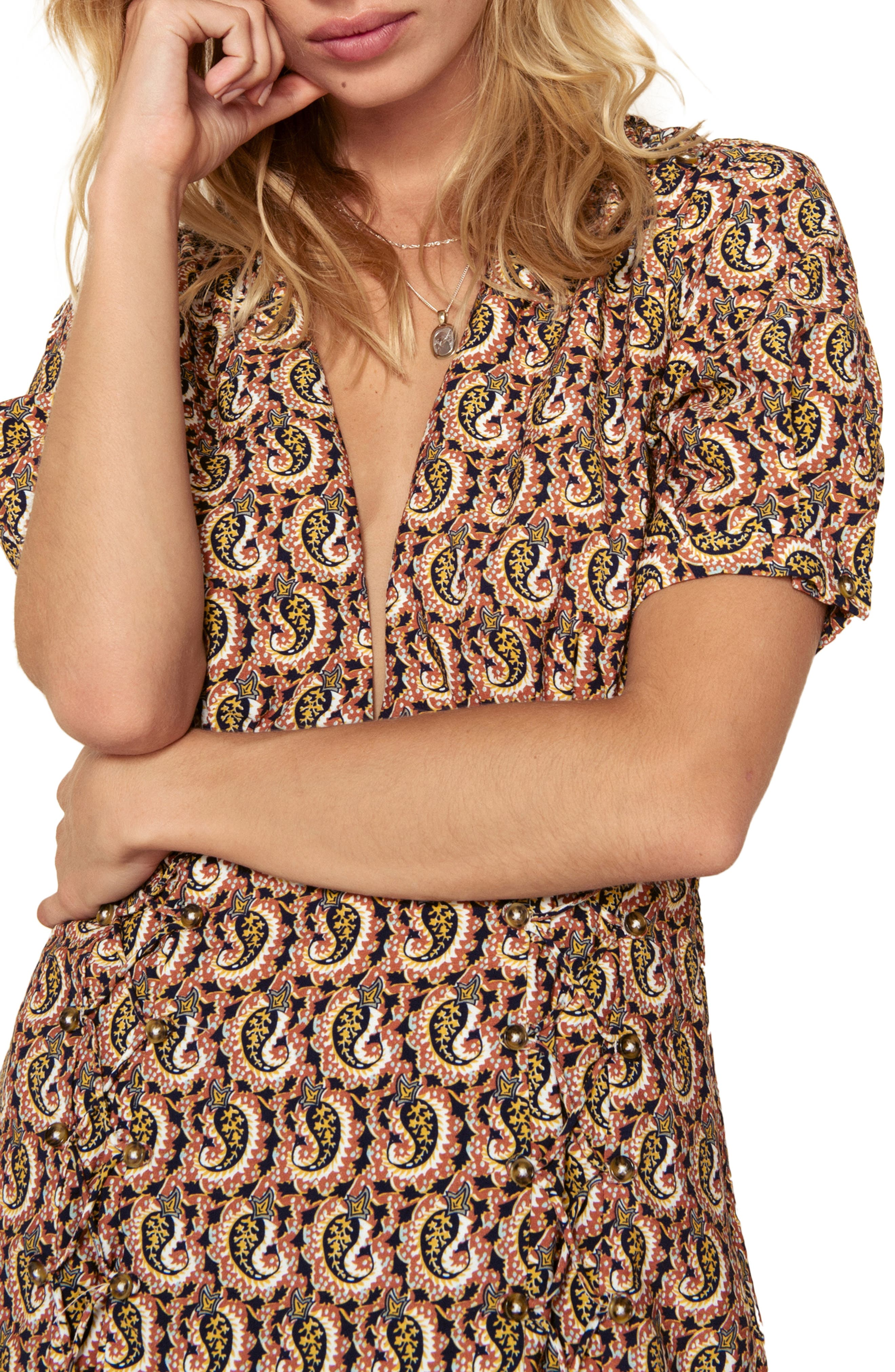 Alix Paisley Minidress,                             Alternate thumbnail 4, color,                             OCHRE IDOL