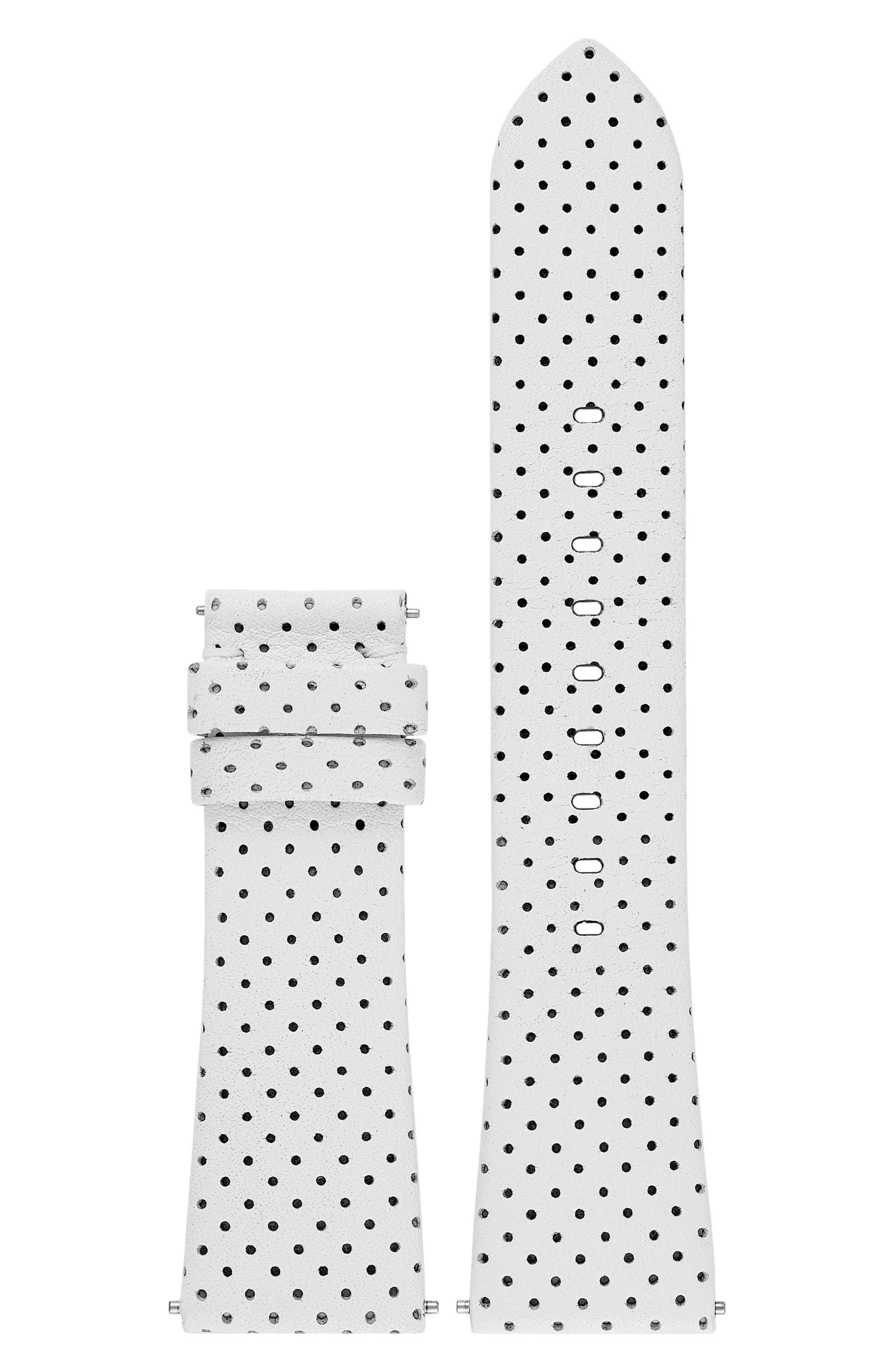 Bradshaw Interchangeable Leather Strap,                         Main,                         color, WHITE